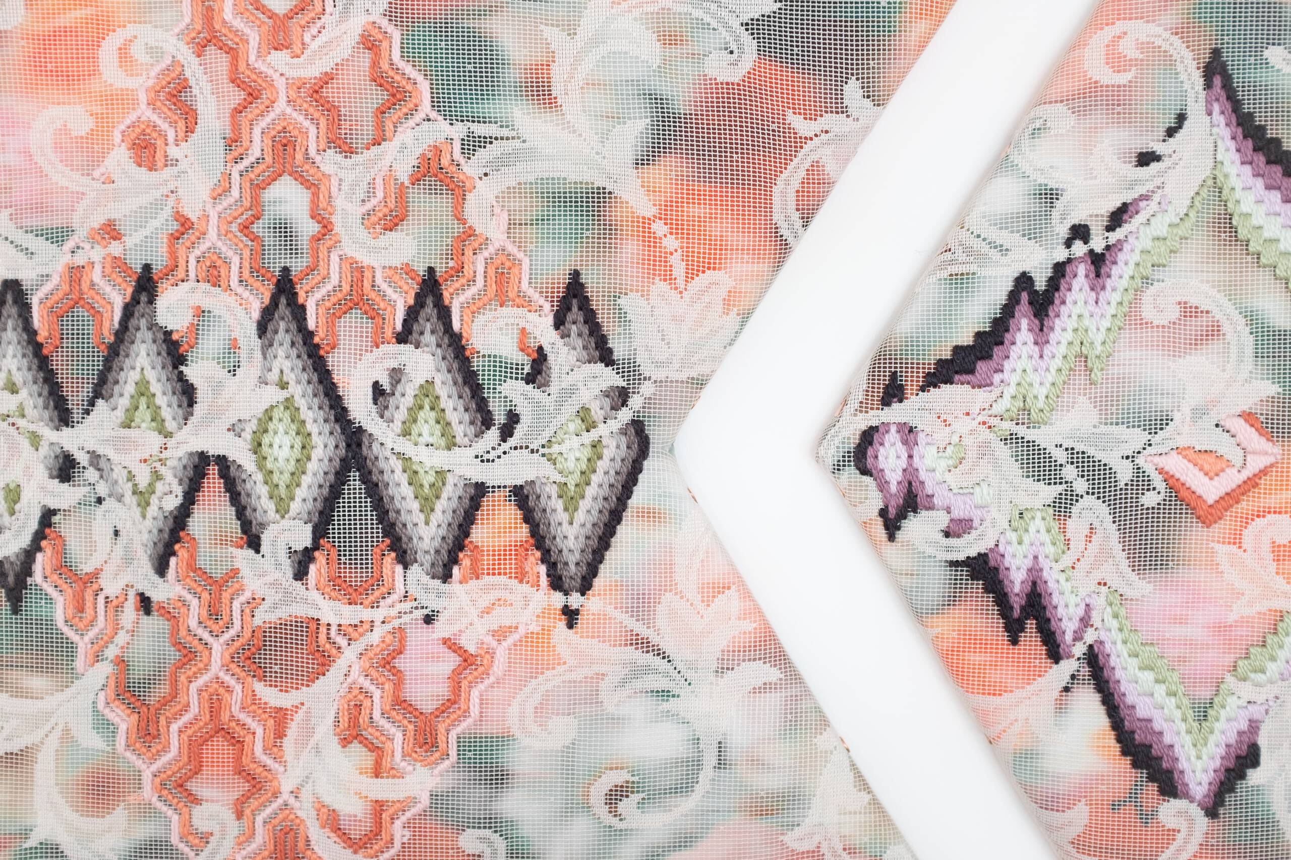 A certain slant of light (labyrinthine pathways of diamonds) [triptych], Hand-embroidered silk on lace over cotton fabric, 2020