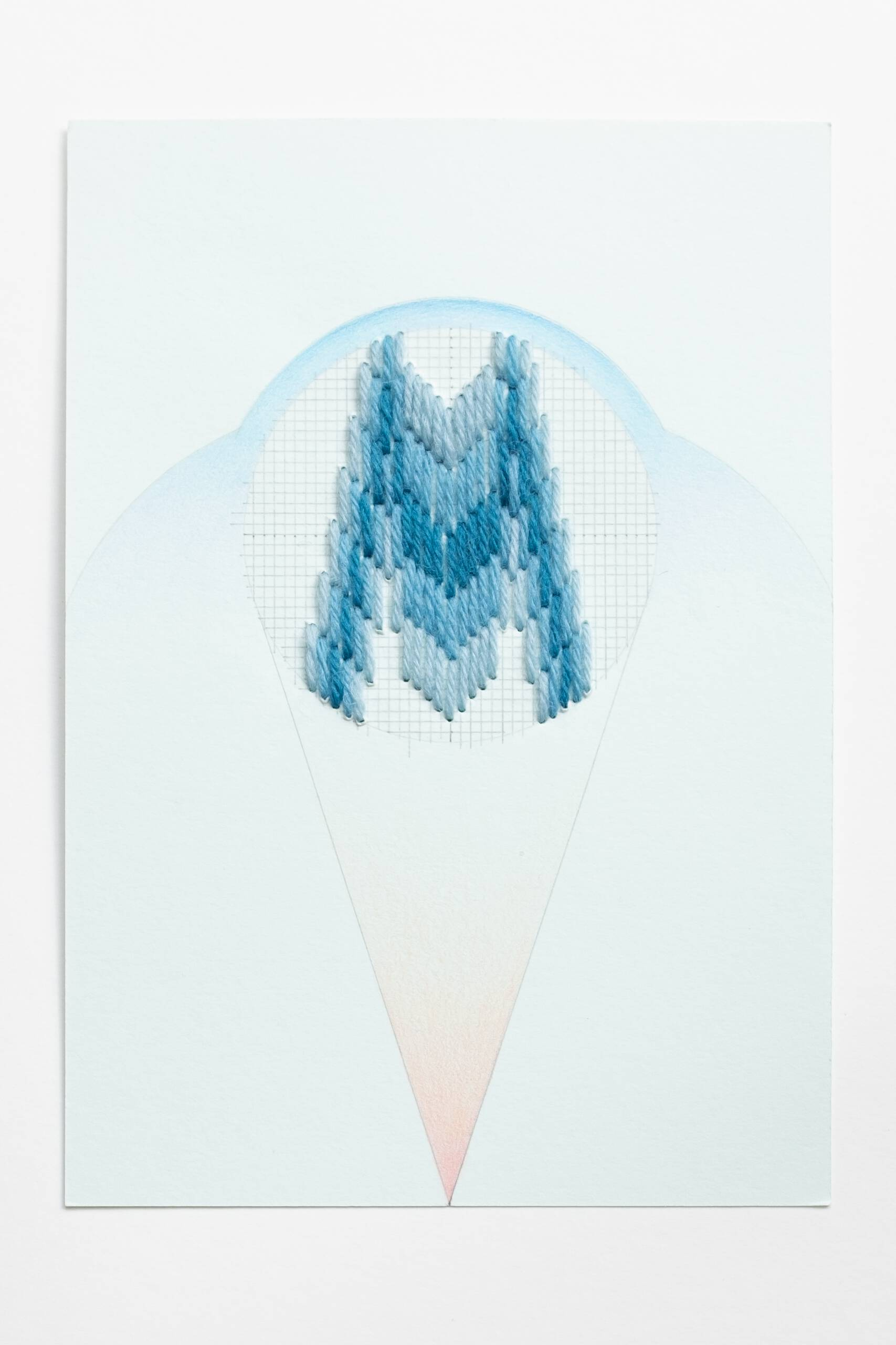 Bargello circle [blue on blue-green], Hand-embroidered wool, pencil and colored pencil on paper, 2020