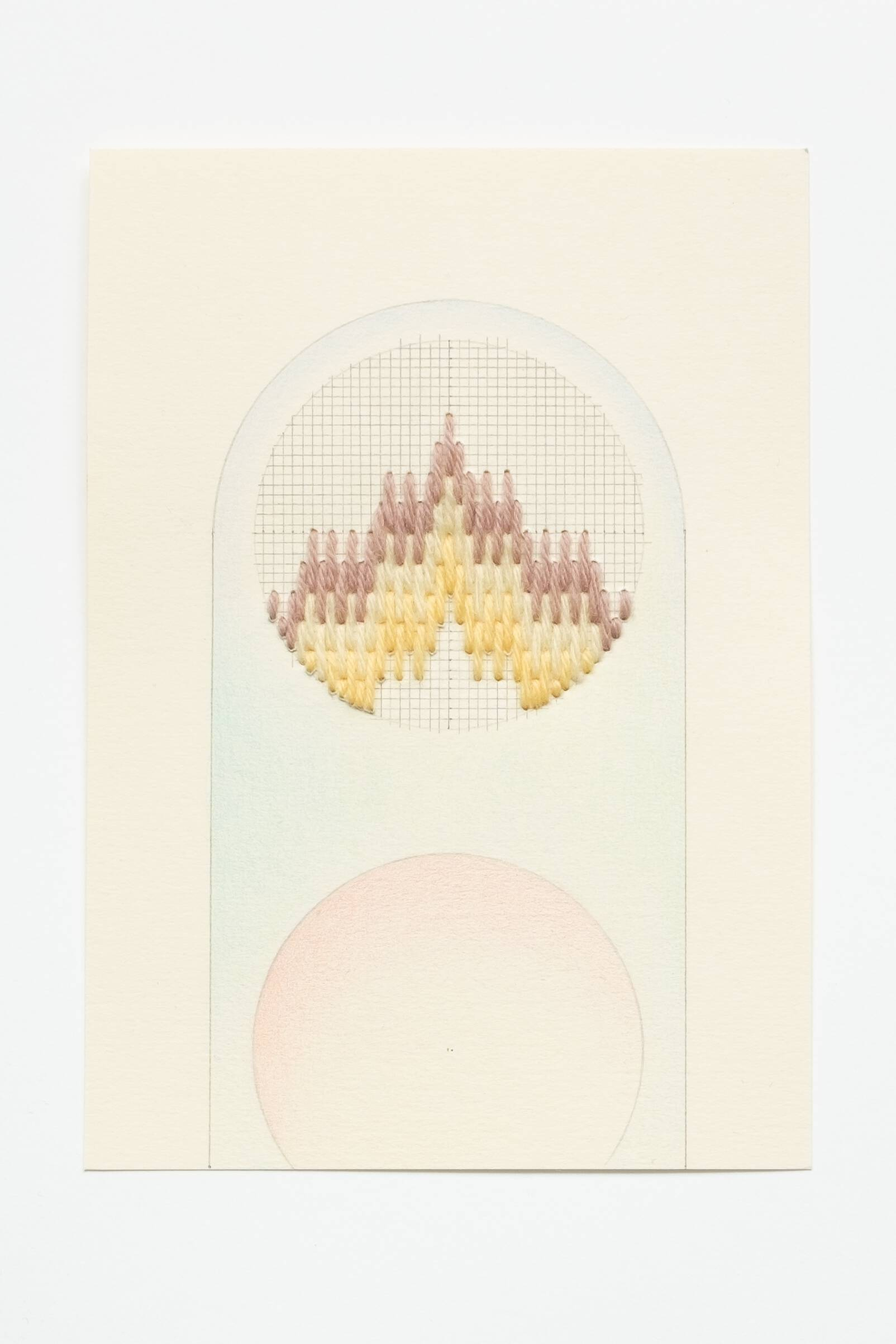 Bargello circle [brown-yellow on yellow], Hand-embroidered wool, pencil and colored pencil on paper, 2020