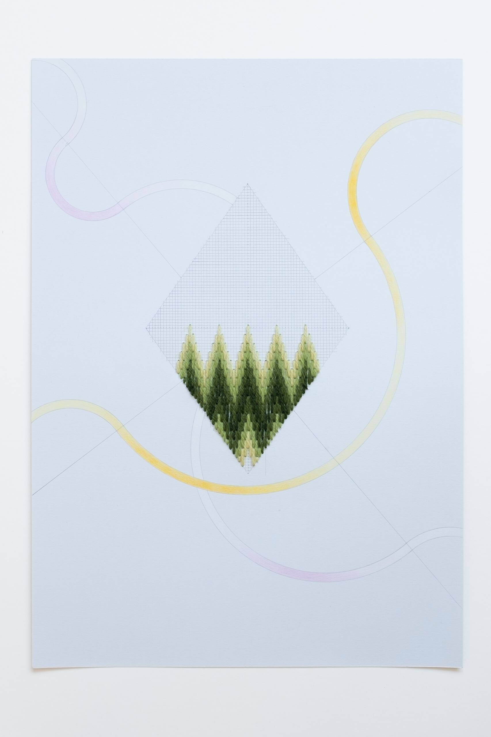 Bargello diamond [yellow-green on grey], Hand-embroidered wool, pencil and colored pencil on paper, 2020