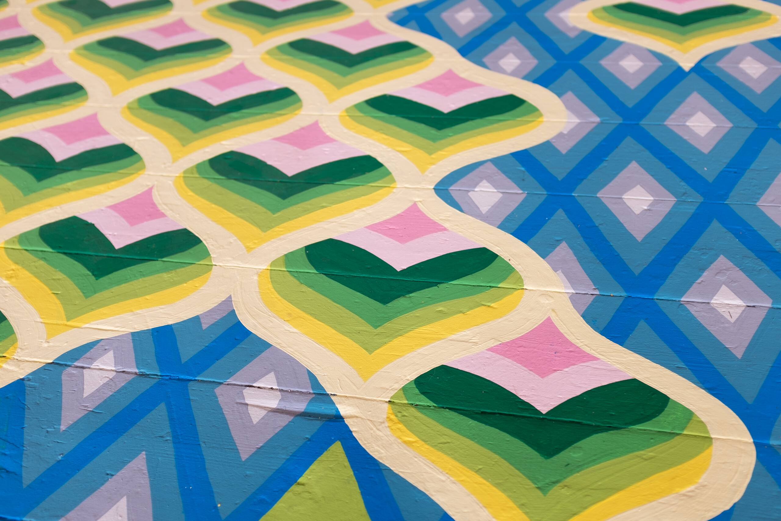 Bargello floor painting [green hearts and blue diamonds], House paint on floor, 2020