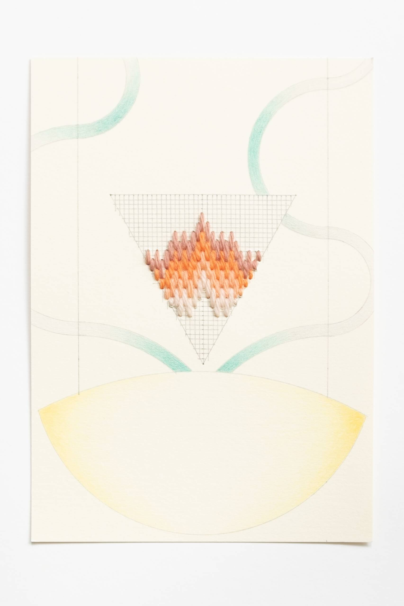Bargello triangle [brown-peach on yellow], Hand-embroidered wool, pencil and colored pencil on paper, 2020