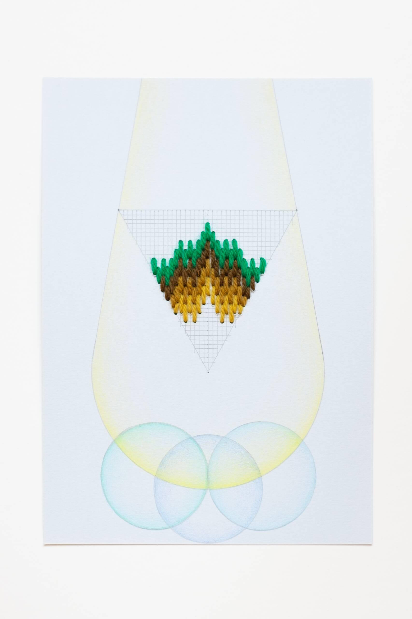 Bargello triangle [green-yellow on blue], Hand-embroidered wool thread, pencil and colored pencil on paper, 2020