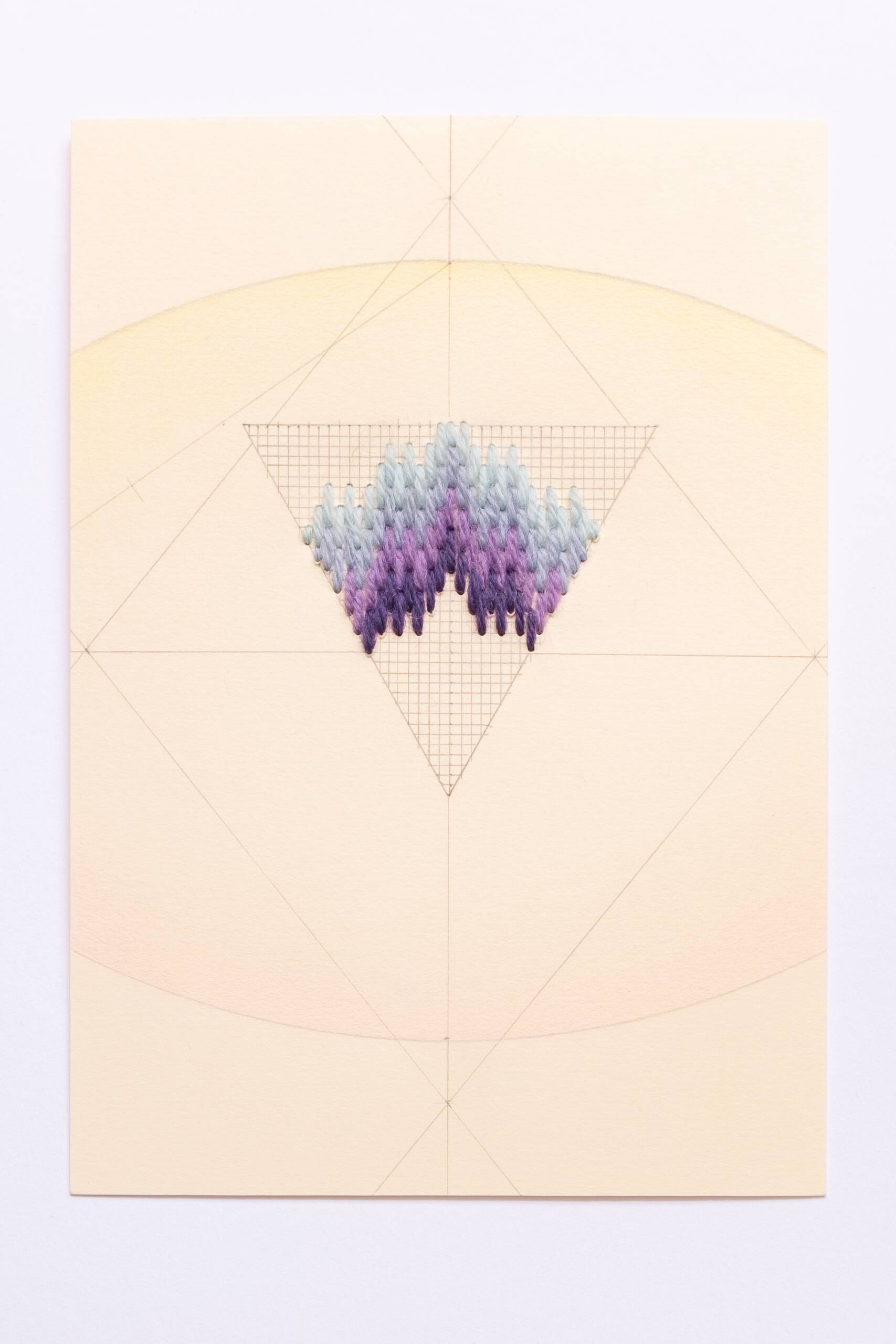 Bargello triangle [periwinkle-purple on peach], Hand-embroidered wool, pencil and colored pencil on paper, 2020