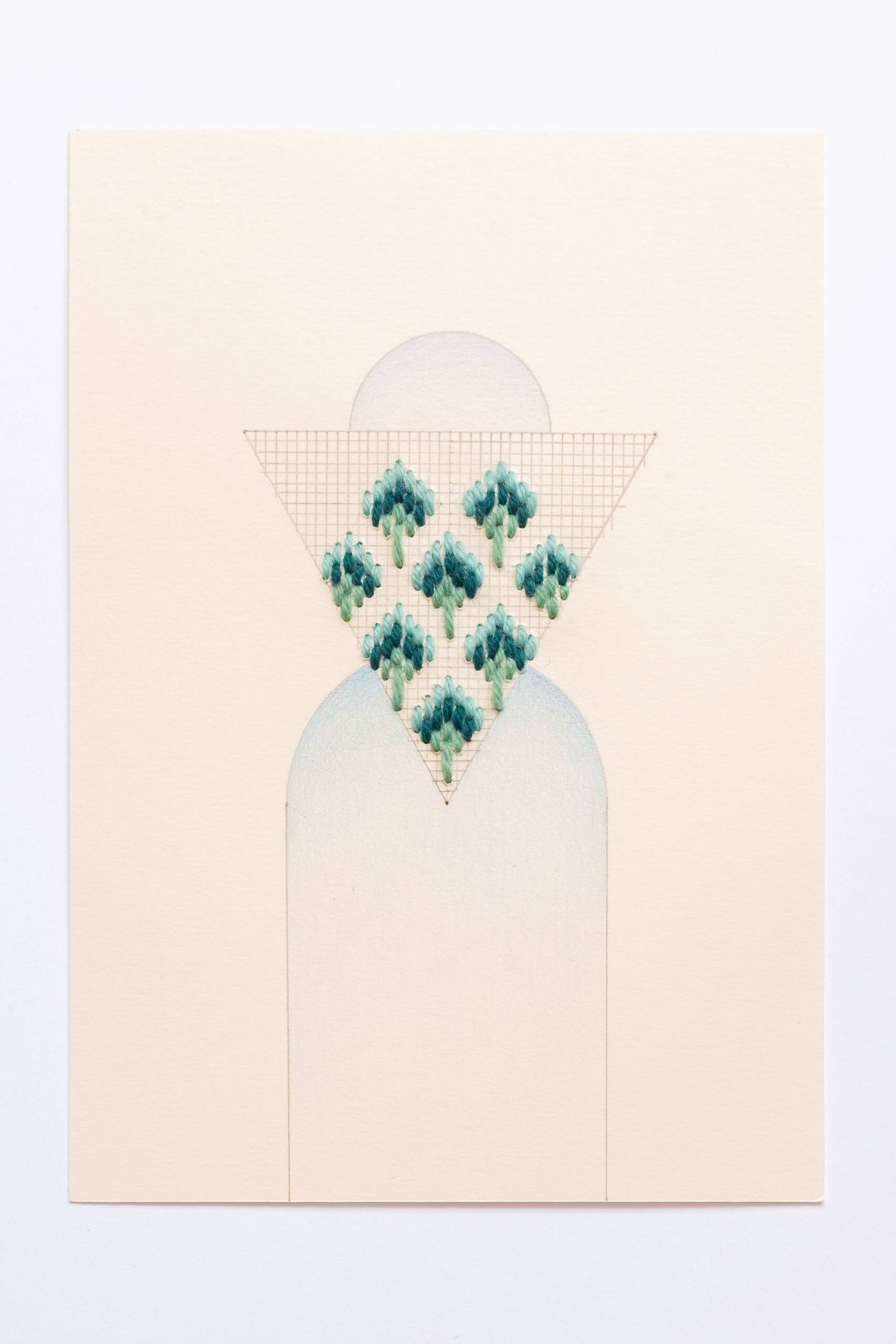 Bargello triangle [teal-green on peach], Hand-embroidered wool, pencil and colored pencil on paper, 2020