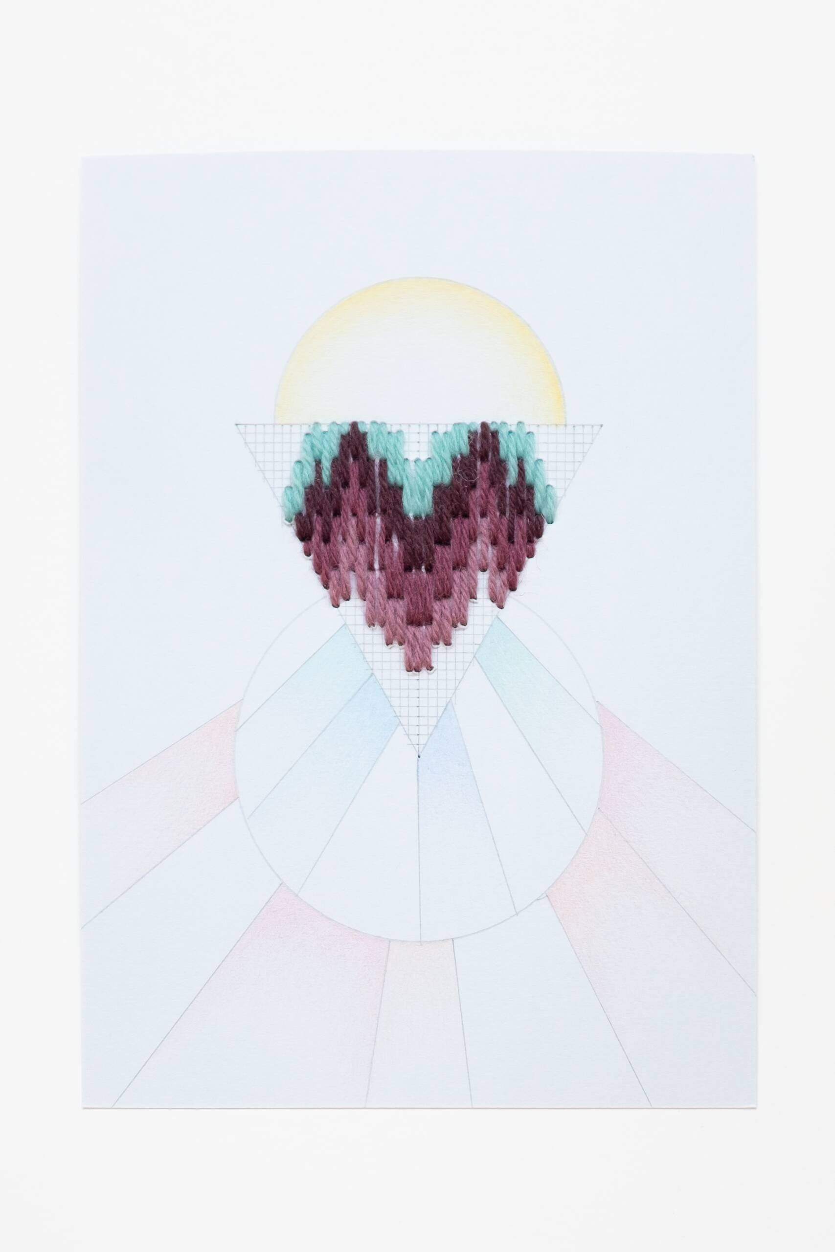 Bargello triangle [teal-maroon on blue], Hand-embroidered wool thread, pencil and colored pencil on paper, 2020
