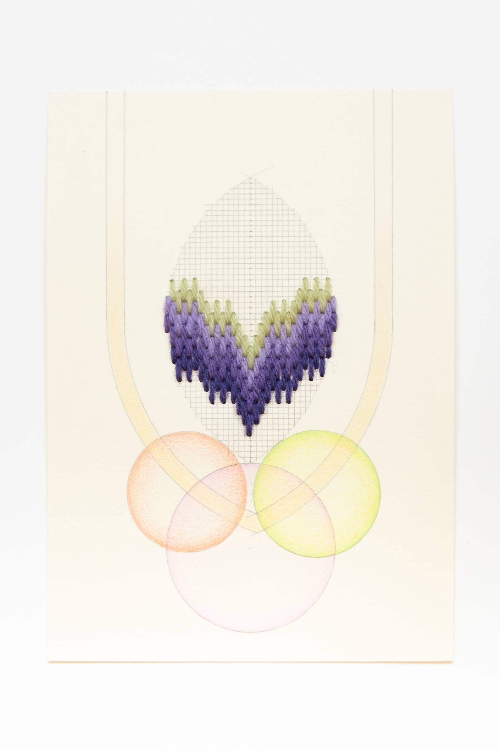 Bargello vesica piscis [green-purple on peach], Hand-embroidered wool thread, pencil and colored pencil on paper, 2020