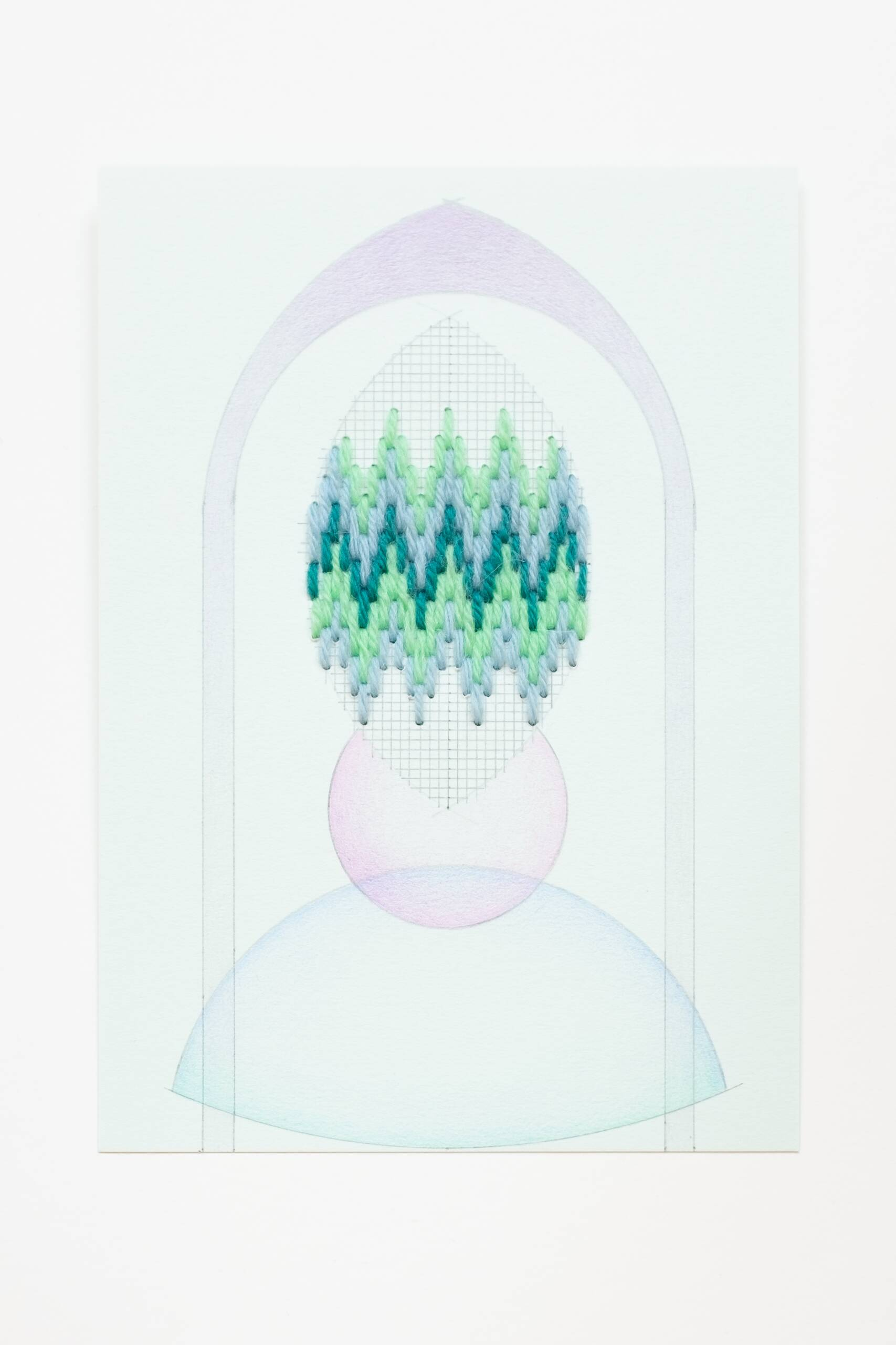Bargello vesica piscis [blue-green on blue-green], Hand-embroidered wool thread, pencil and colored pencil on paper, 2020
