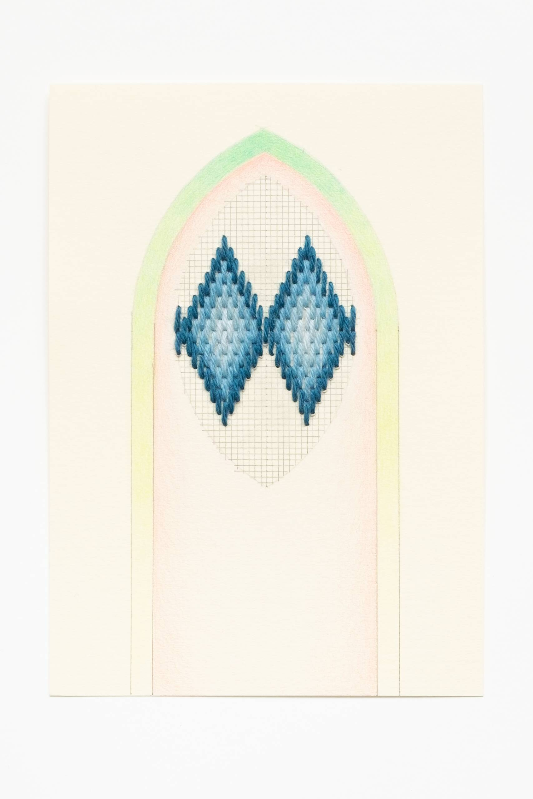Bargello vesica piscis [blue on peach], Hand-embroidered wool, pencil and colored pencil on paper, 2020