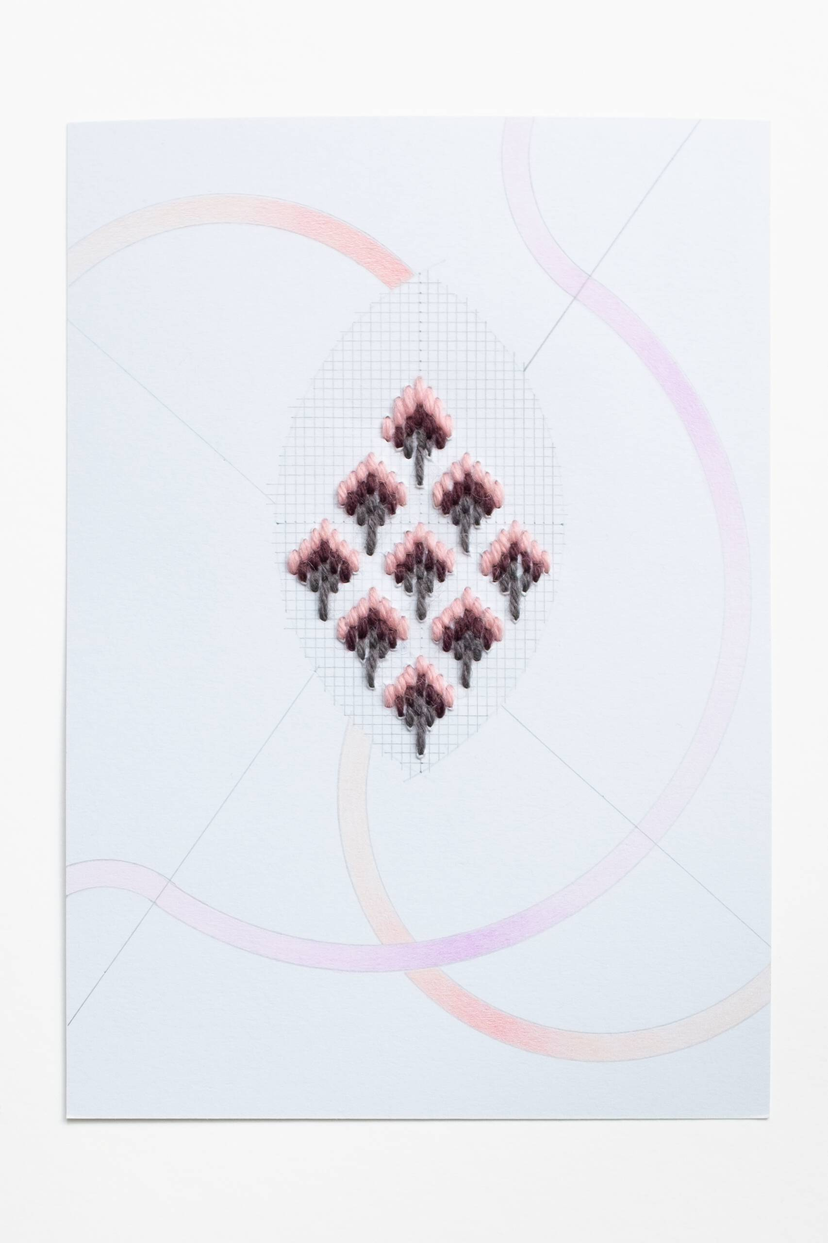 Bargello vesica piscis [pink-maroon-grey on blue], Hand-embroidered wool thread, pencil and colored pencil on paper, 2020