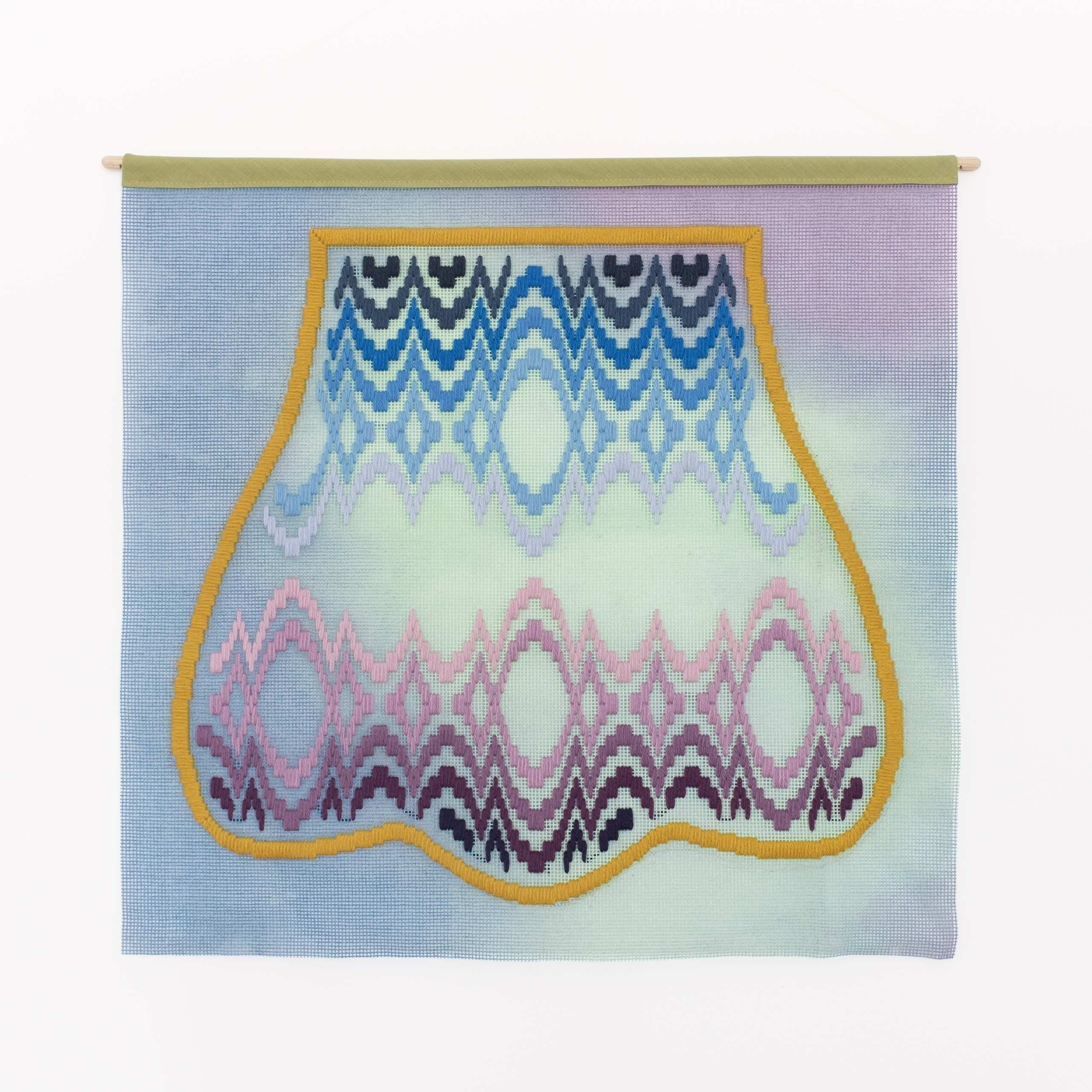 Bloomsbury (scallop chair), Hand-embroidered wool yarn and acrylic paint on canvas, 2021