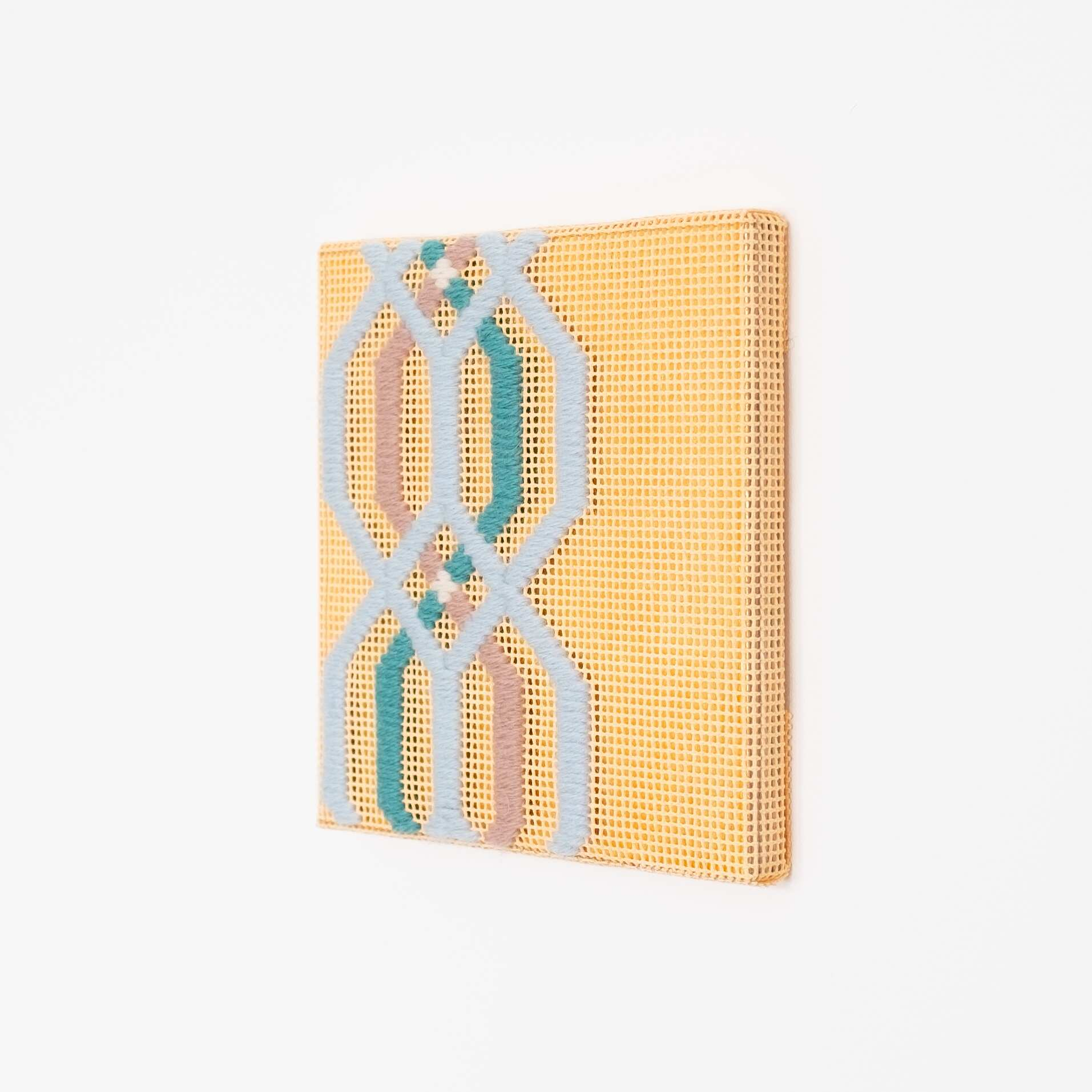Border fragment [blue-teal-brown on peach], Hand-embroidered wool thread and acrylic paint on canvas over gilded panel, 2021