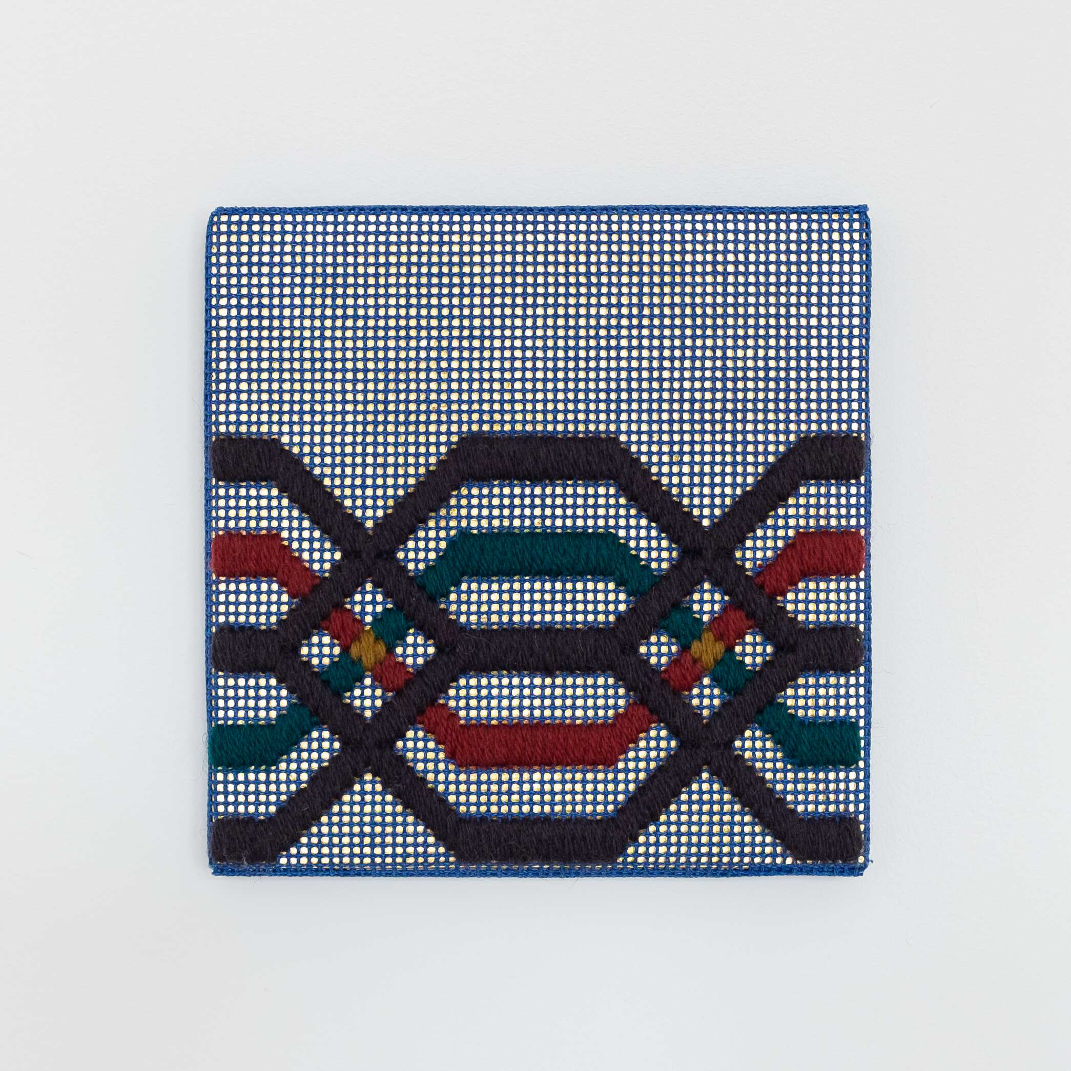 Border fragment [grey-teal-maroon on navy], Hand-embroidered wool thread and acrylic paint on canvas over gilded panel, 2021
