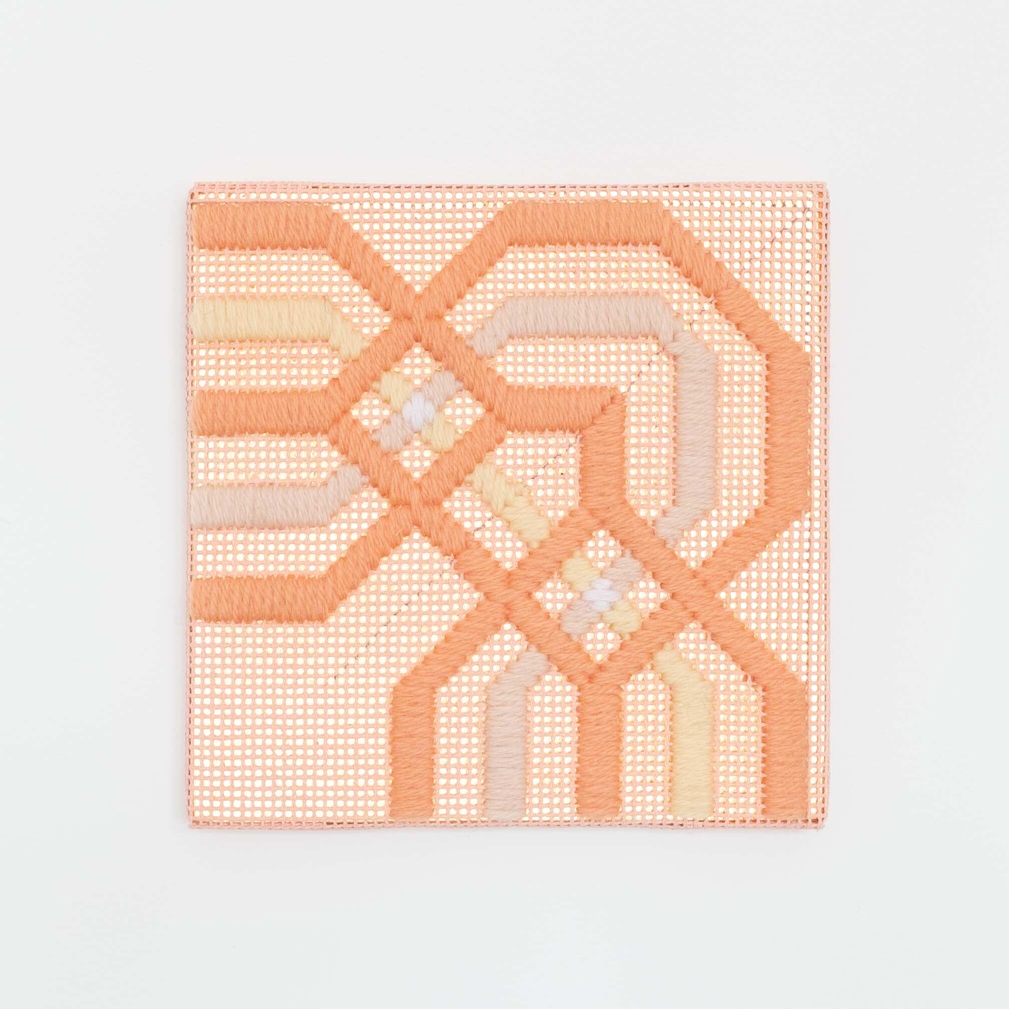 Border fragment [peach-yellow on peach], Hand-embroidered wool thread and acrylic paint on canvas over gilded panel, 2021