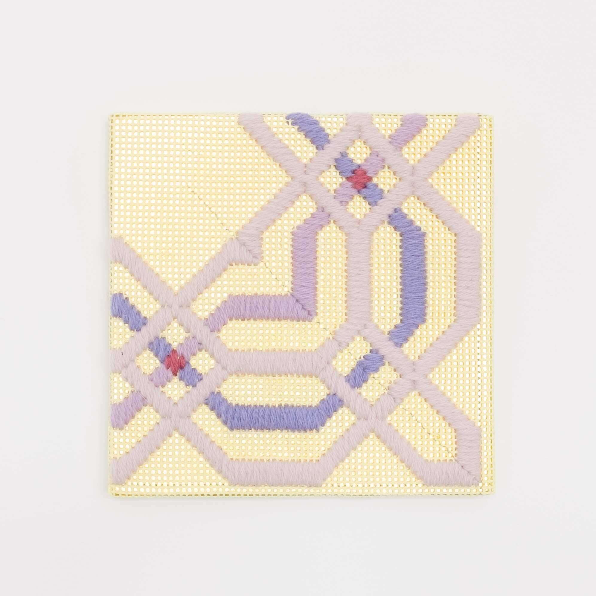 Border fragment [purple on yellow], Hand-embroidered wool thread and acrylic paint on canvas over gilded panel, 2021