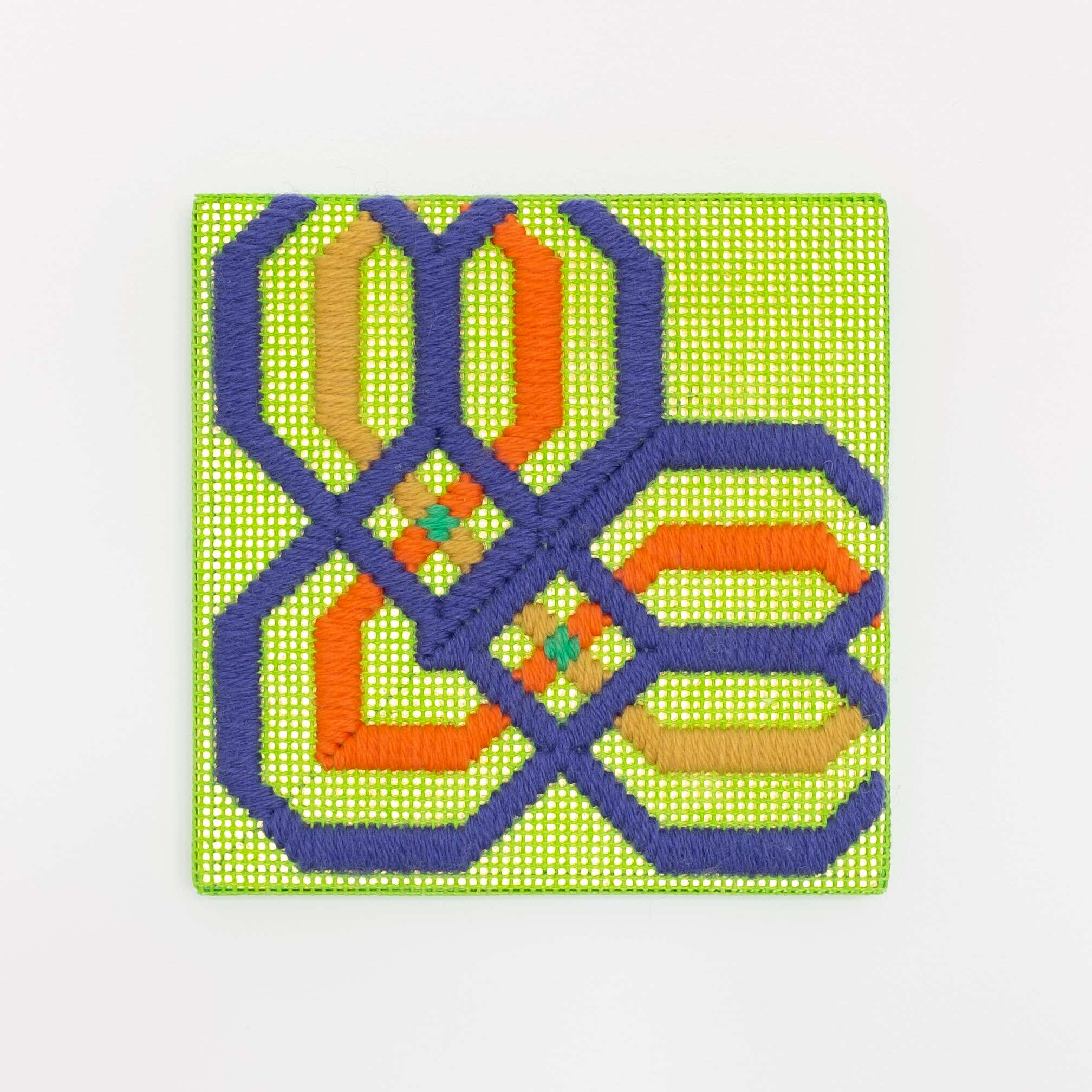 Border fragment [purple-orange-yellow on green], Hand-embroidered wool thread and acrylic paint on canvas over gilded panel, 2021
