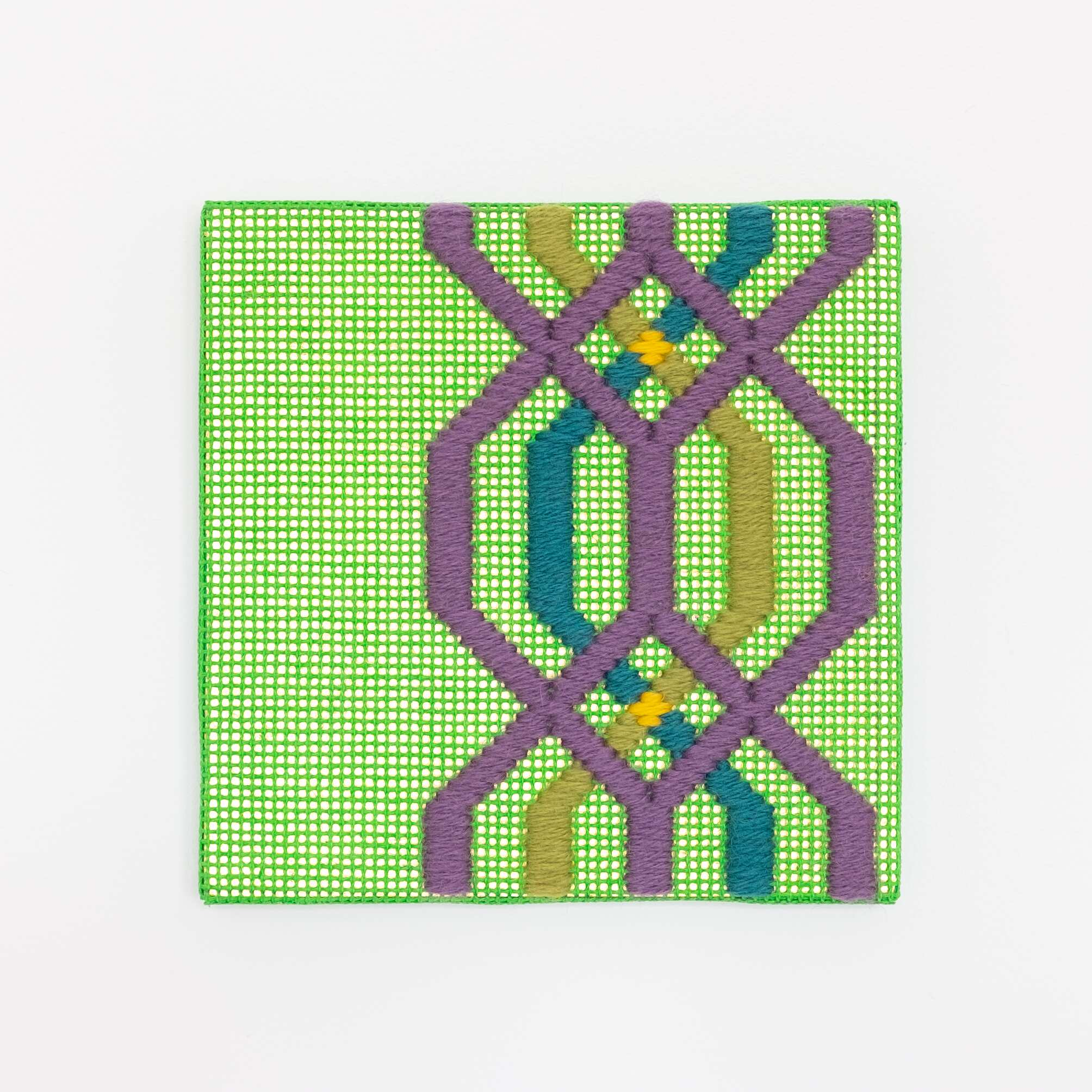 Border fragment [purple-teal-green on green], Hand-embroidered wool thread and acrylic paint on canvas over gilded panel, 2021