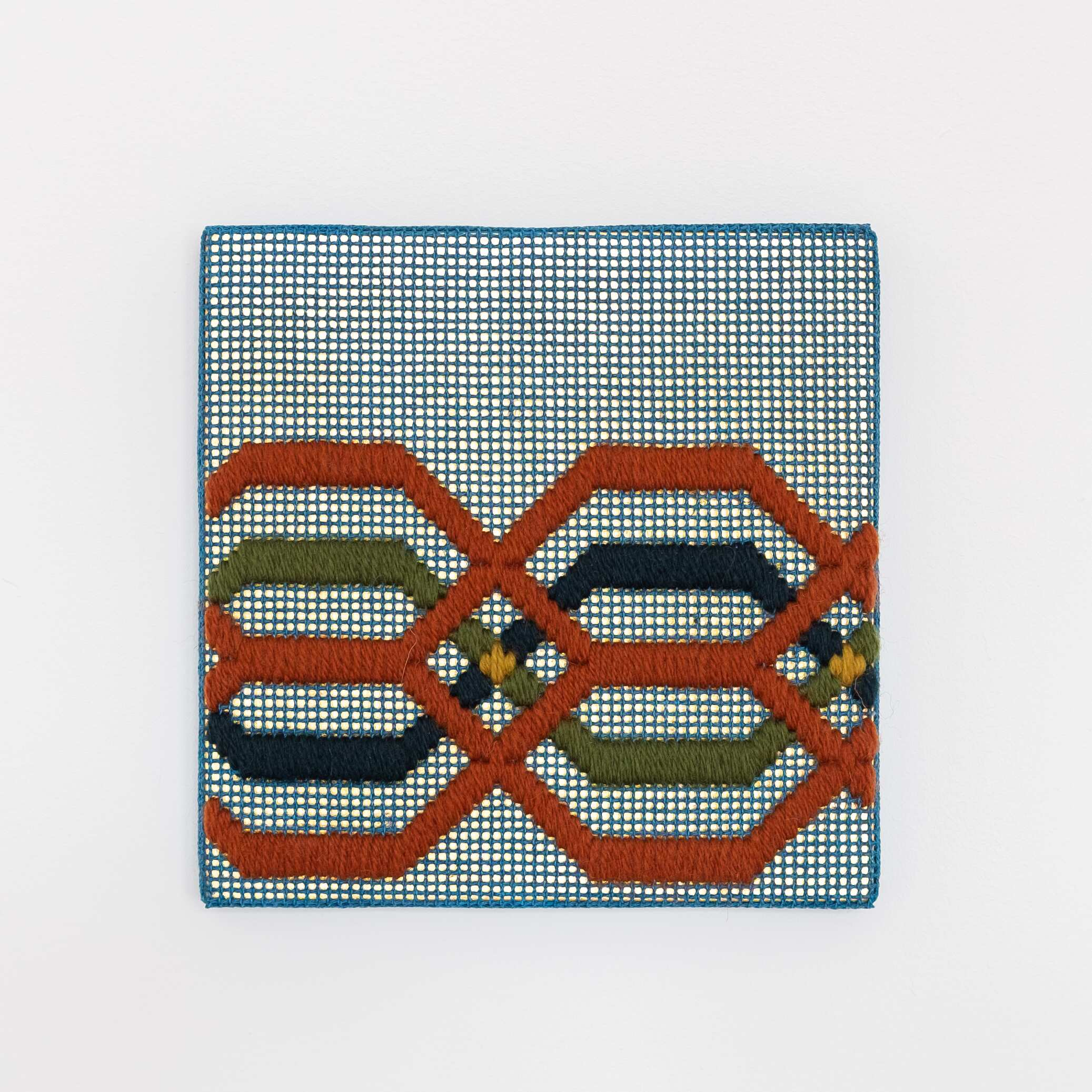 Border fragment [rust-green-blue on blue], Hand-embroidered wool thread and acrylic paint on canvas over gilded panel, 2021