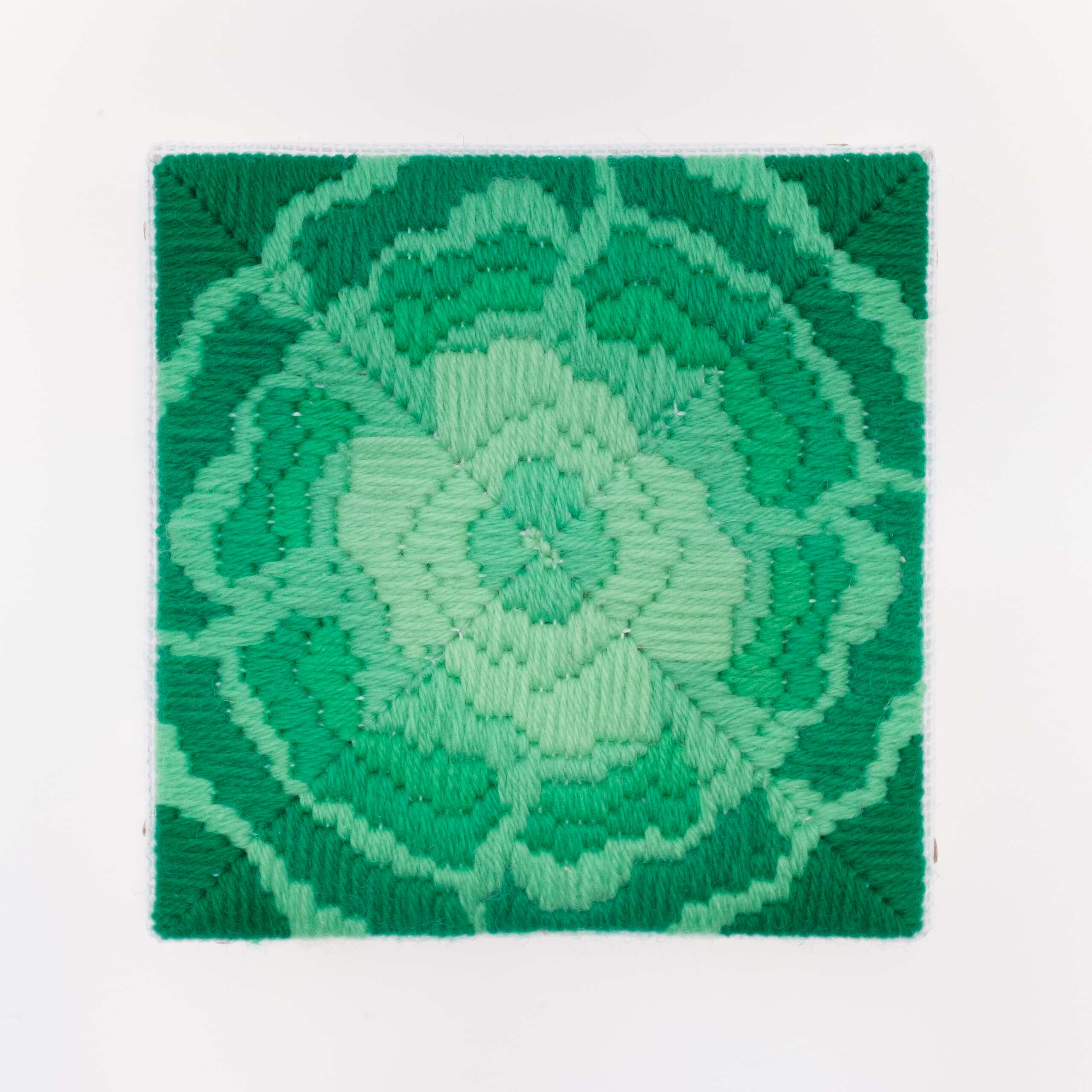 Depression Era [cast glass, green], Hand-embroidered wool on canvas over panel, 2020