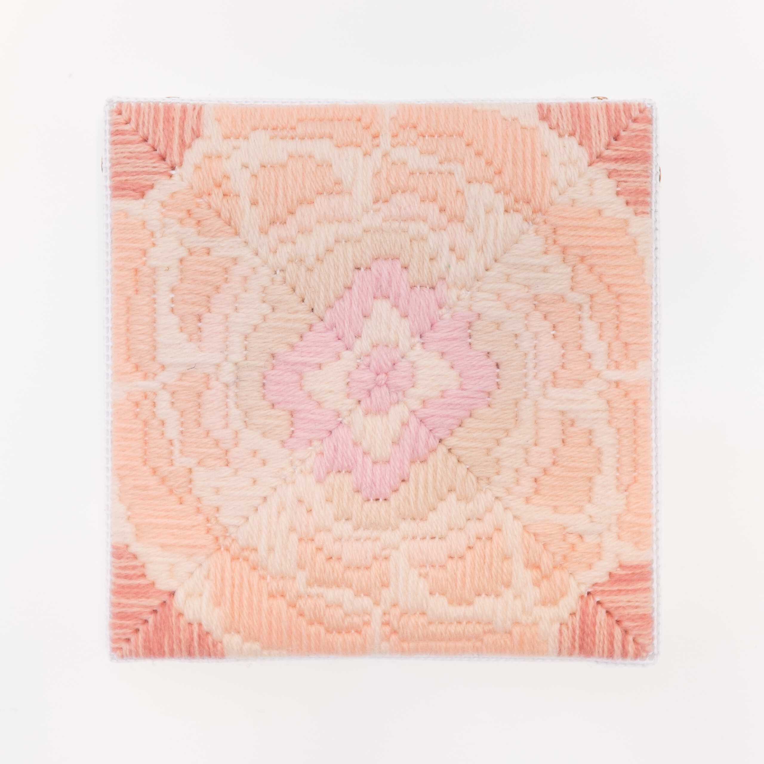 Depression Era [cast glass, peach], Hand-embroidered wool on canvas over panel, 2020