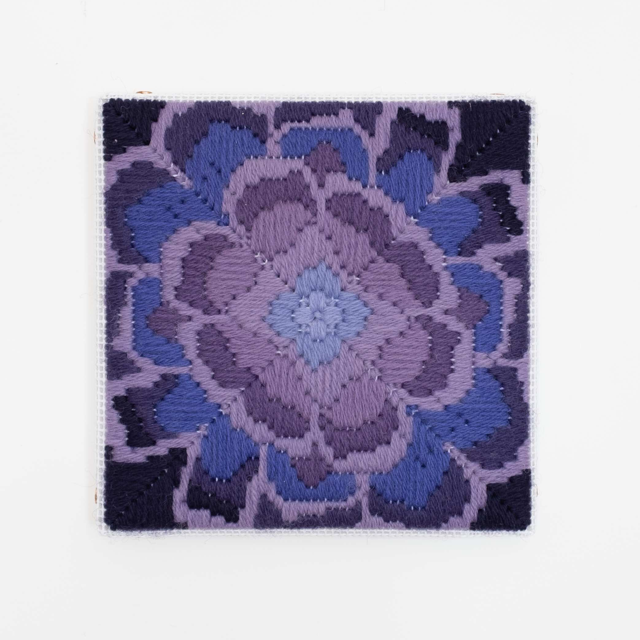 Depression Era [cast glass, purple], Hand-embroidered wool on canvas over panel, 2020