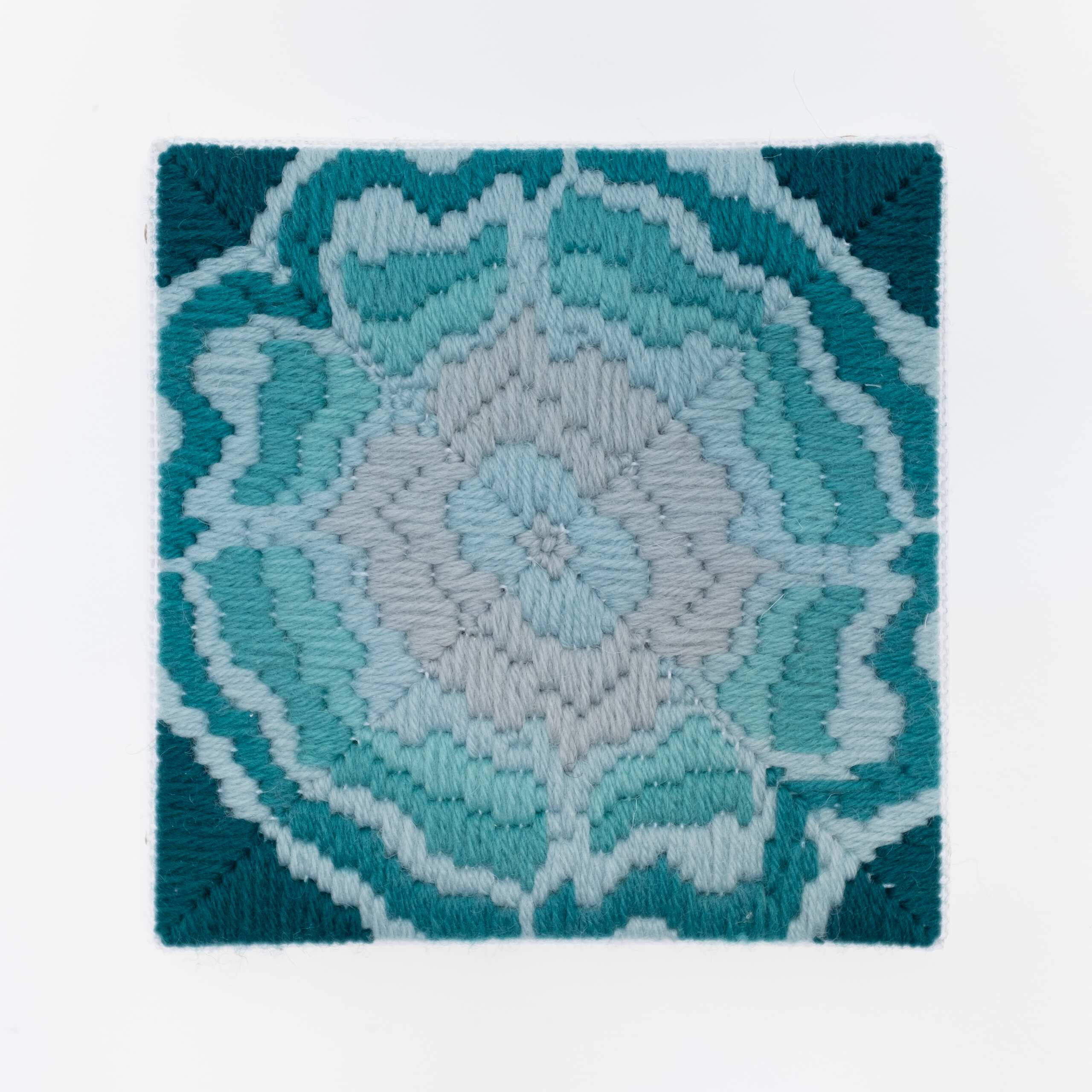 Depression Era [cast glass, teal], Hand-embroidered wool on canvas over panel, 2020