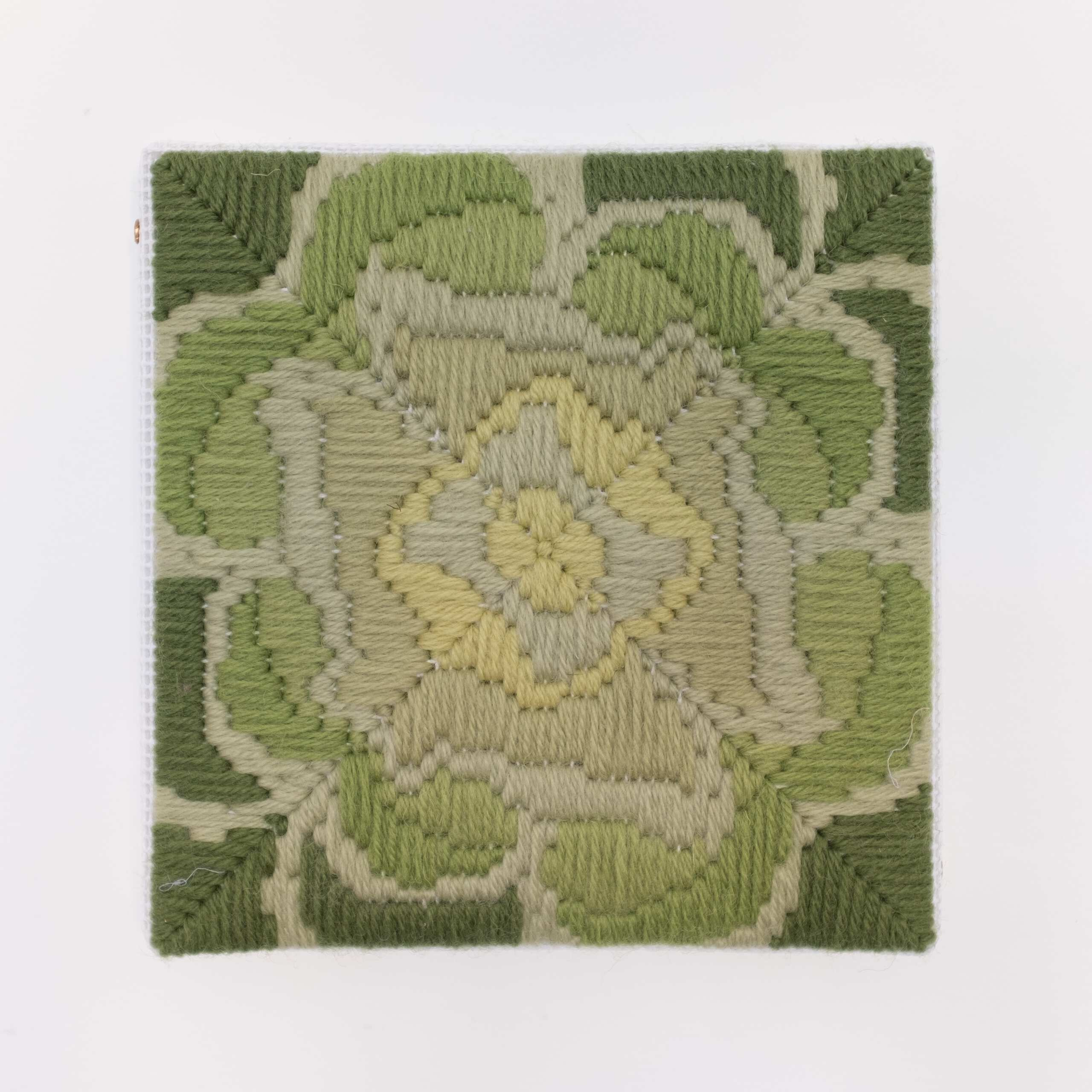 Depression Era [cast glass, yellow-green], Hand-embroidered wool on canvas over panel, 2020