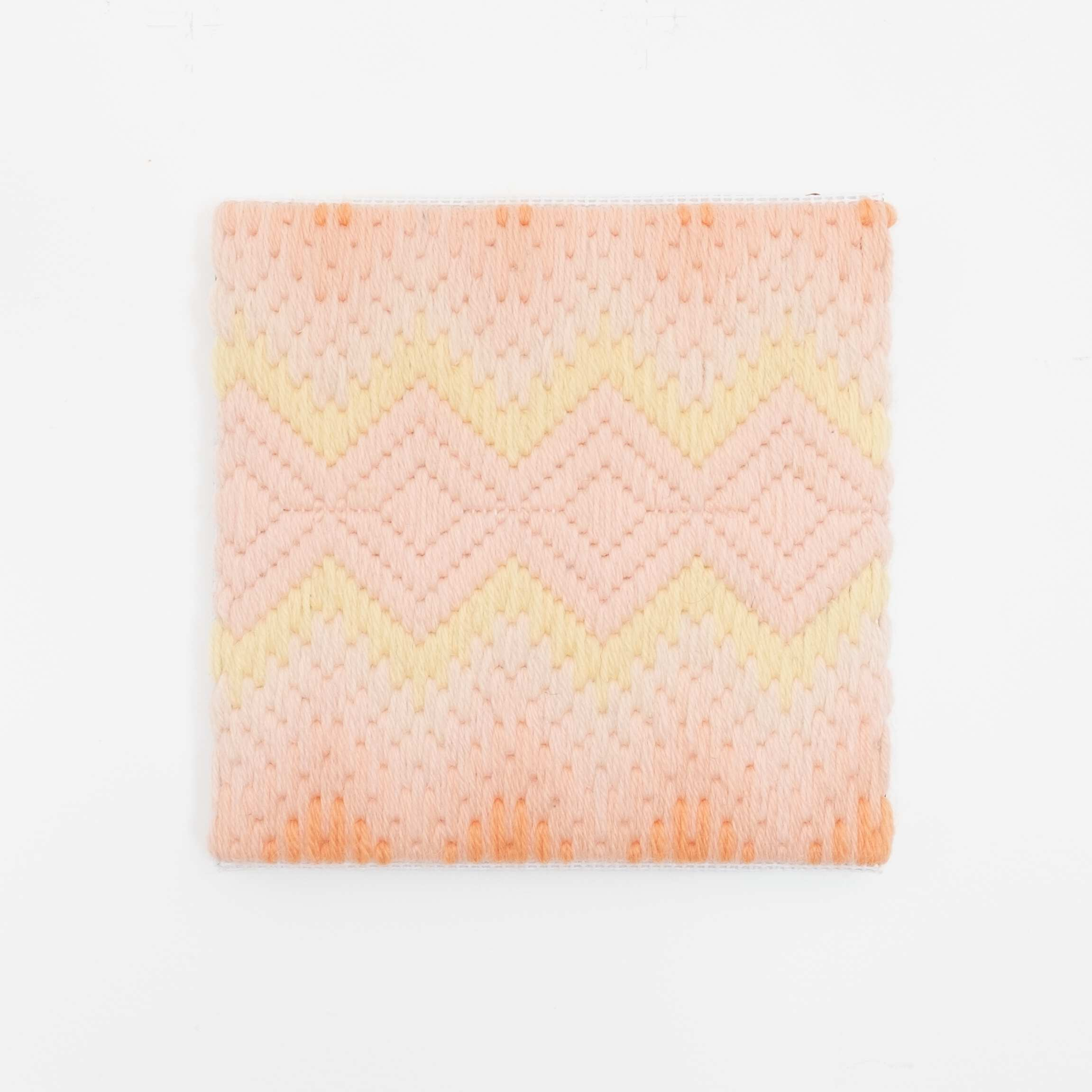Depression Era [cut glass, peach], Hand-embroidered wool on canvas over panel, 2020