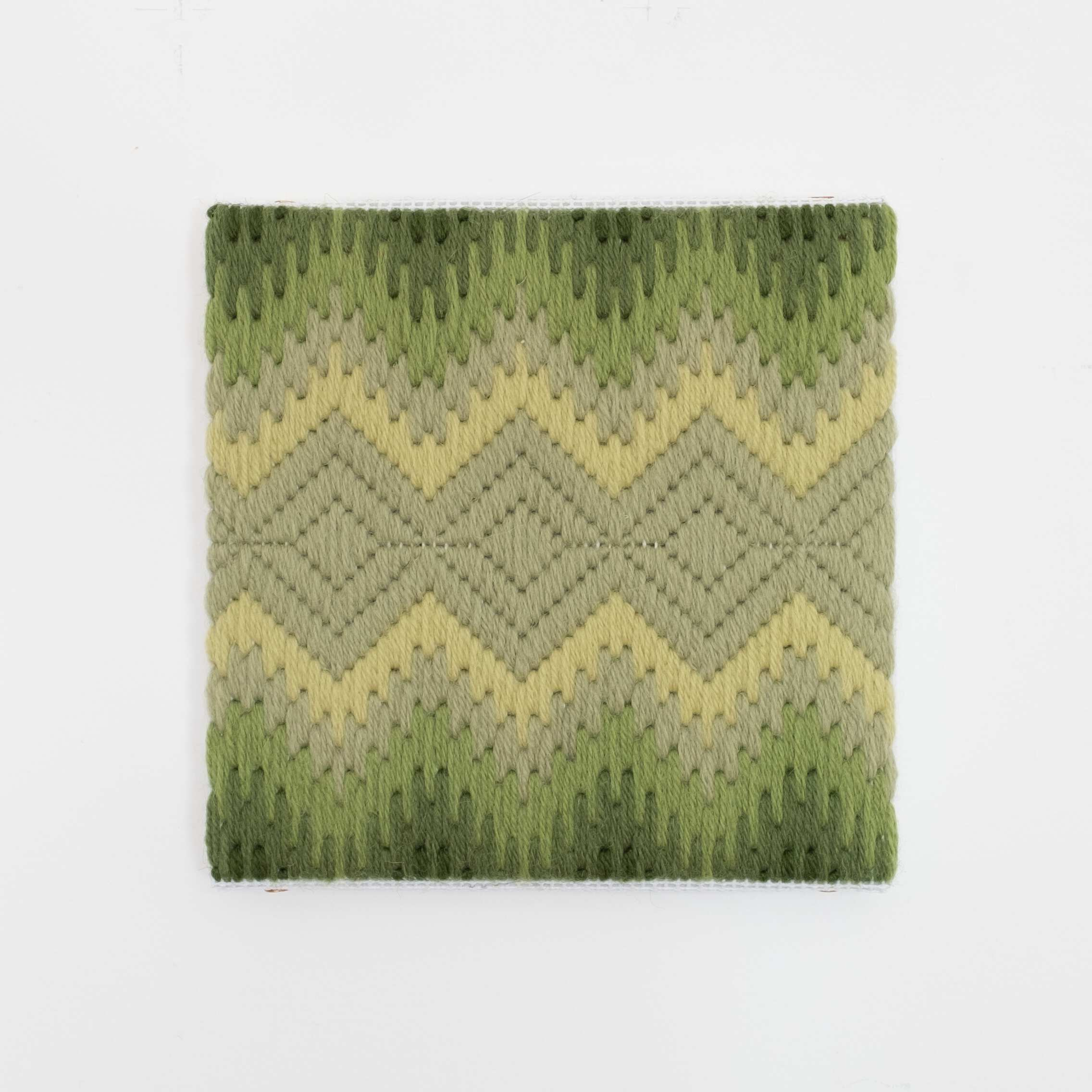 Depression Era [cut glass, yellow-green], Hand-embroidered wool on canvas over panel, 2020