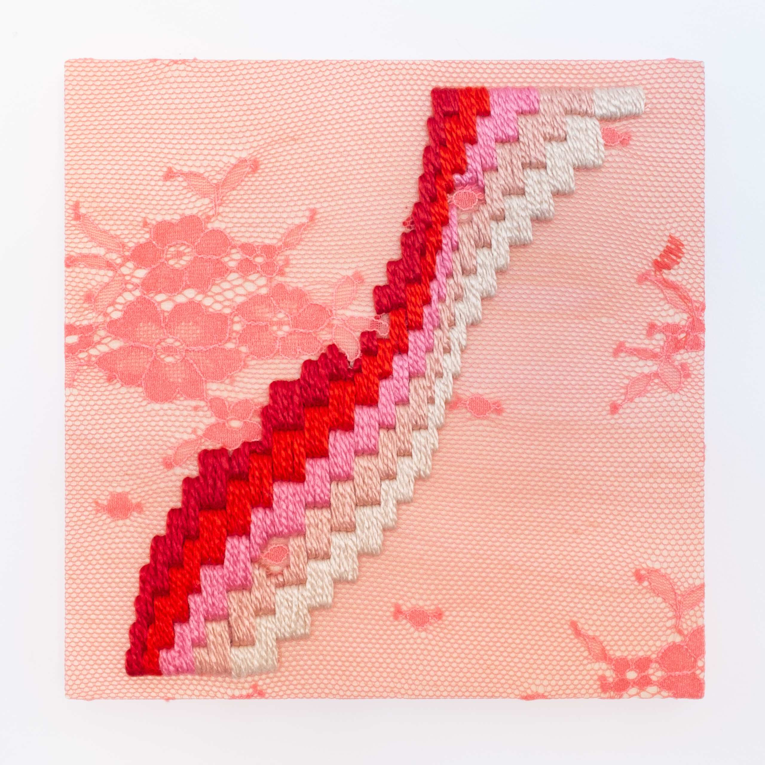 Get a Wiggle on [red], Hand-embroidered silk on lace over plywood panel, 2020