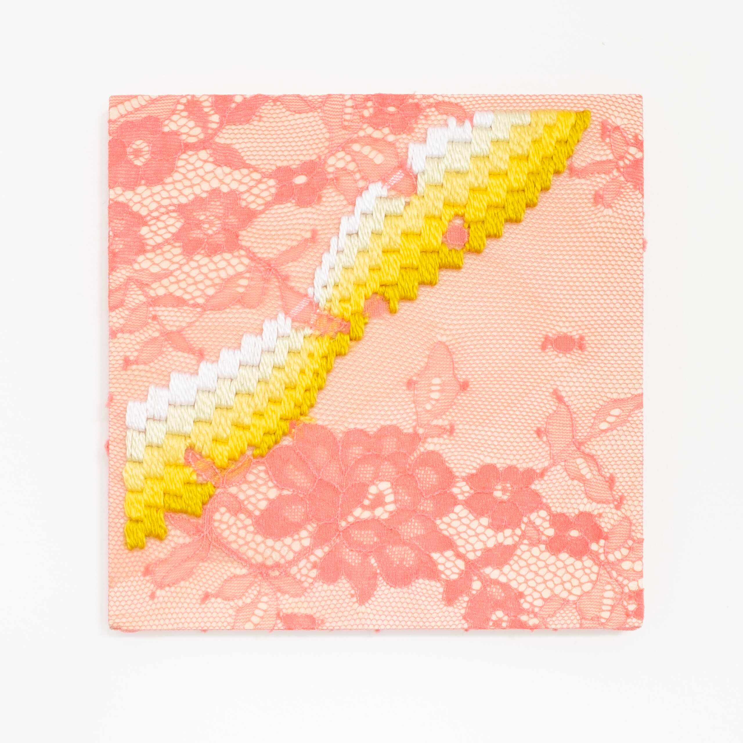 Get a Wiggle on [yellow], Hand-embroidered silk thread on lace over plywood panel, 2020