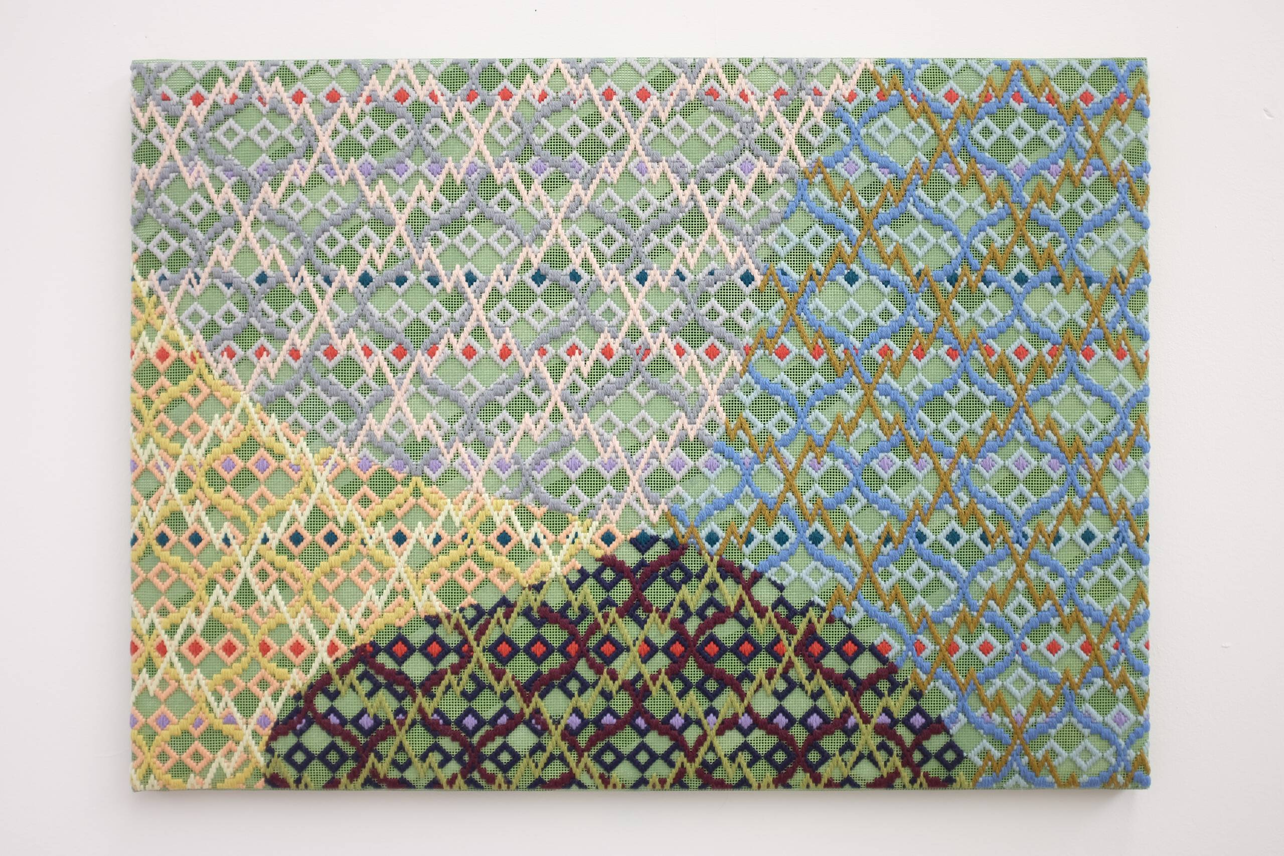 Michael Pollan says it's OK to take psychedelic drugs (in a therapeutic setting), part 2, Hand-embroidered wool on canvas over panel, 2018