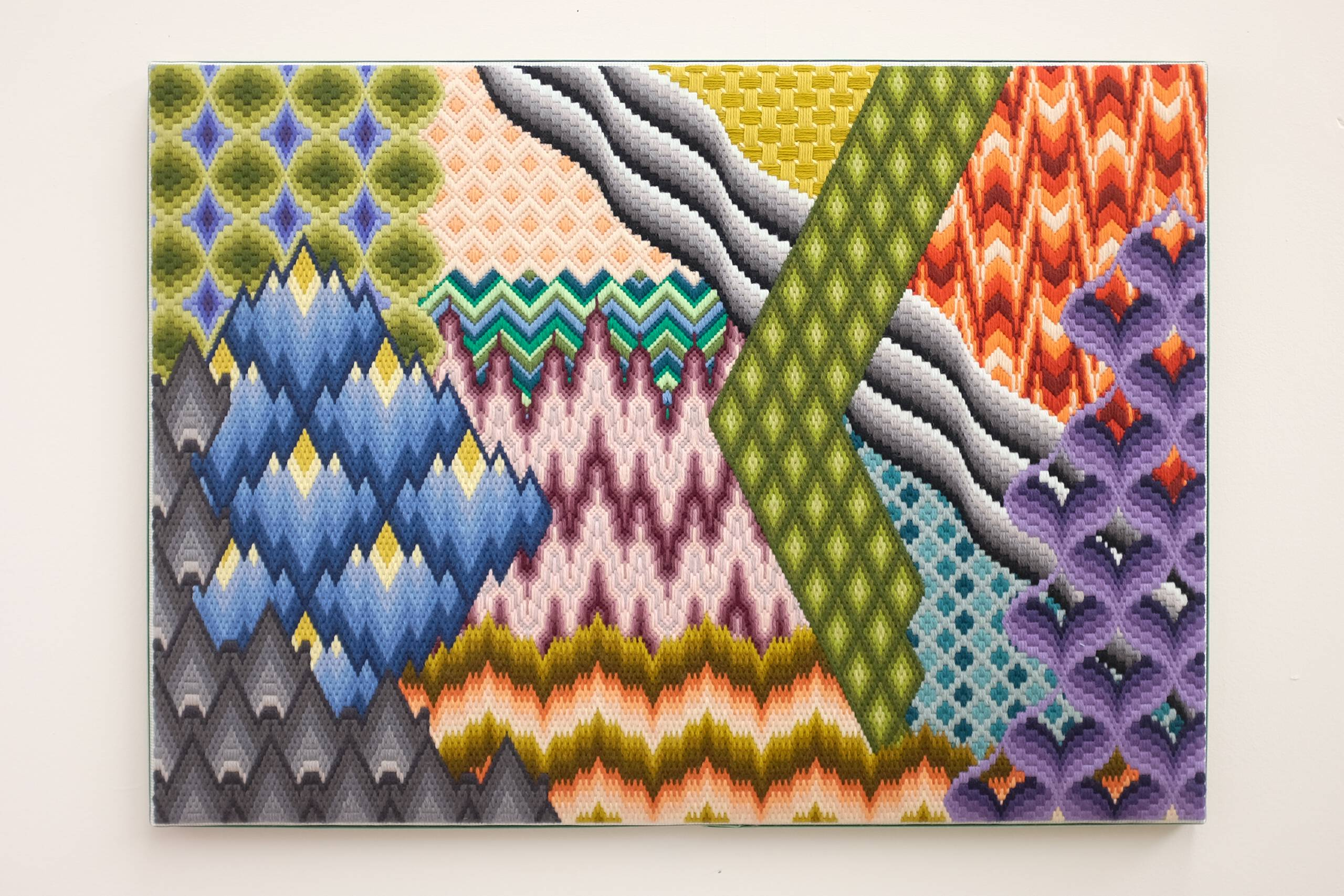 Michael Pollan says it's OK to take psychedelic drugs (in a therapeutic setting), part 1, Hand-embroidered wool on canvas over panel, 2018