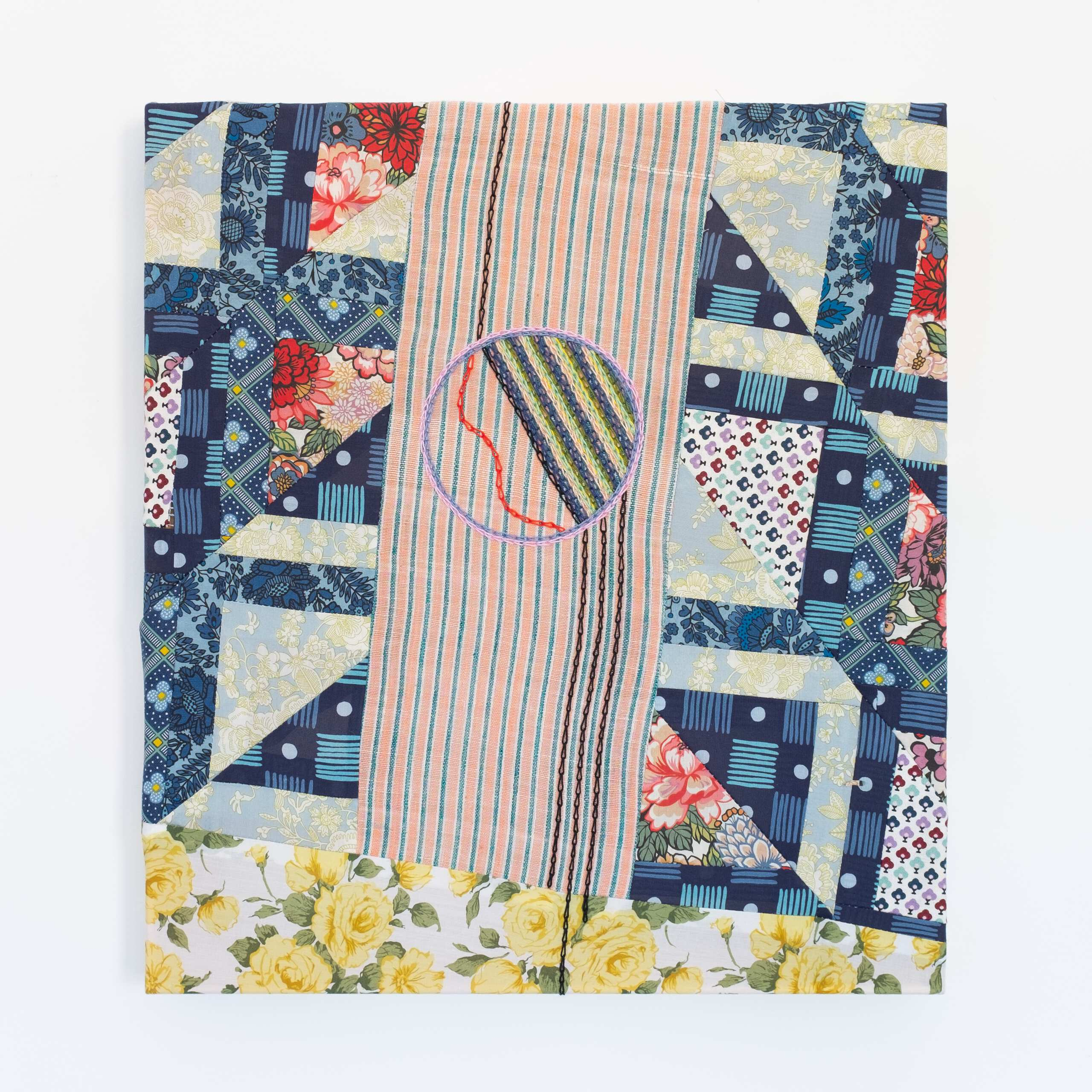 Quilted Composition (awkward painting 1), Sewn cotton fabric, hand-embroidered cotton thread, 2020