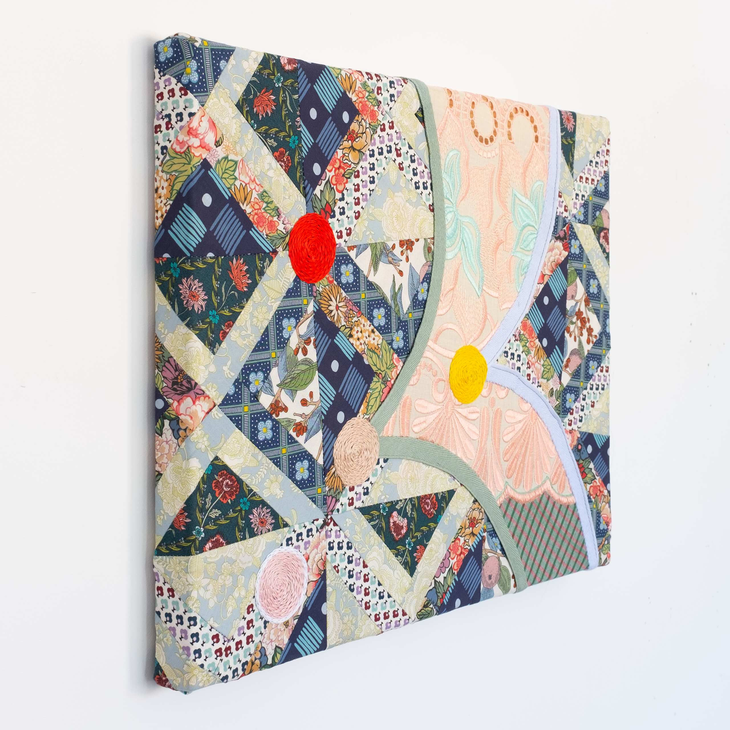 Quilted Composition (awkward painting 2), Sewn fabric, hand-embroidered cotton thread, 2020