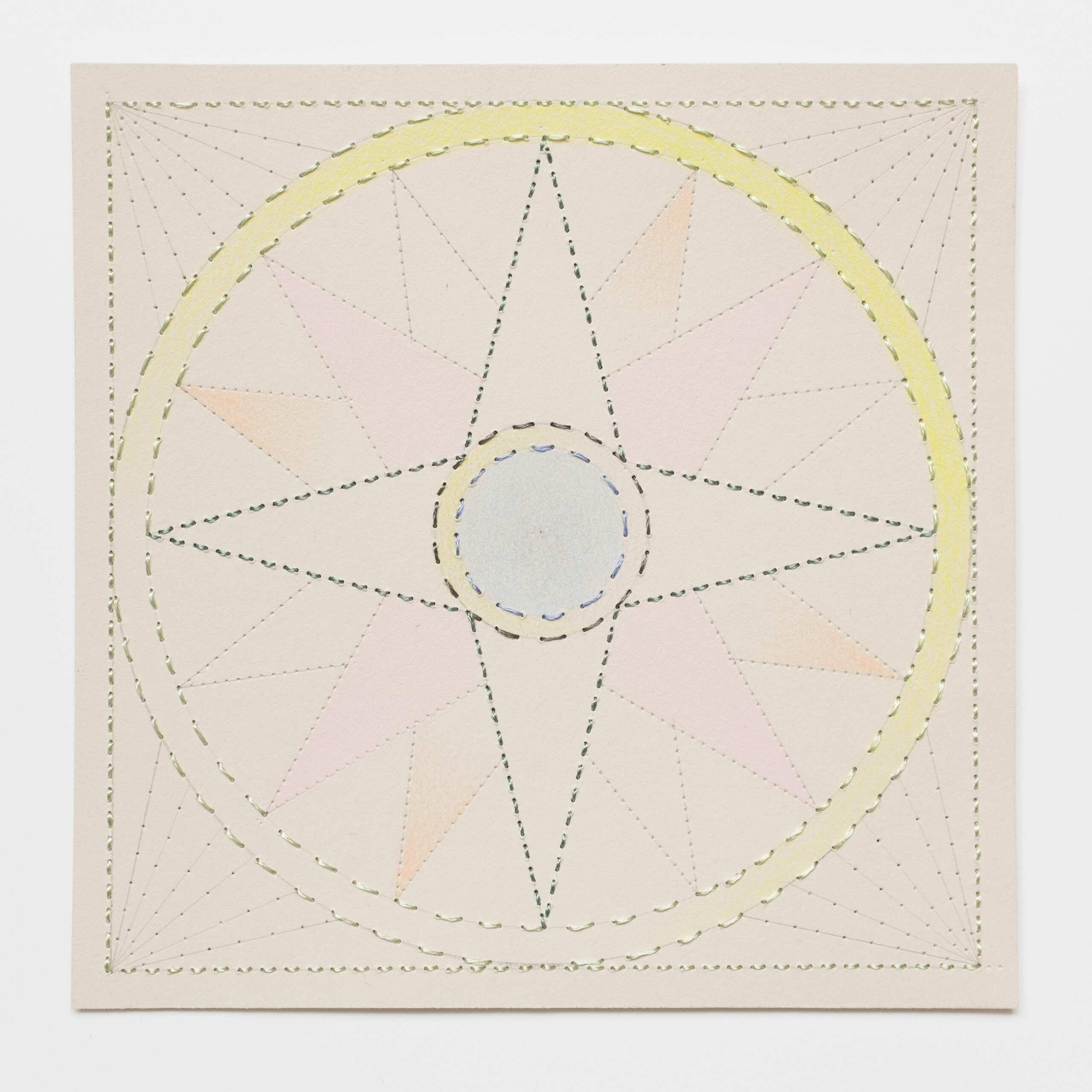Quilted Composition [grey // compass], Hand-embroidered silk on paper, pencil, coloured pencil, 2019