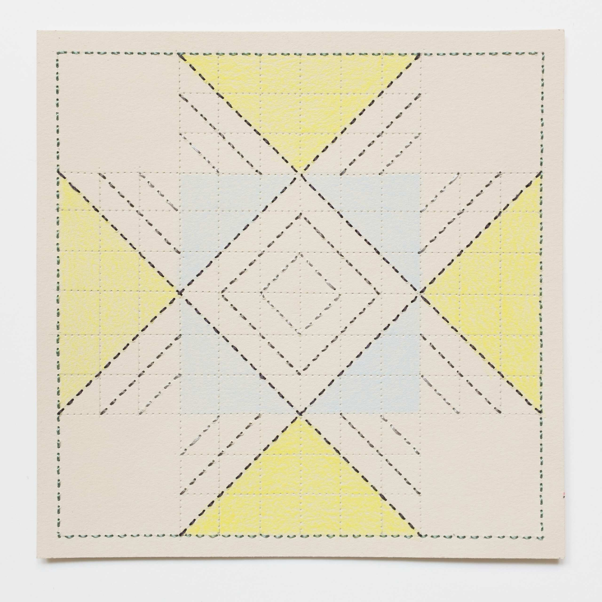 Quilted Composition [grey // squares], Hand-embroidered silk on paper, pencil, coloured pencil, 2019