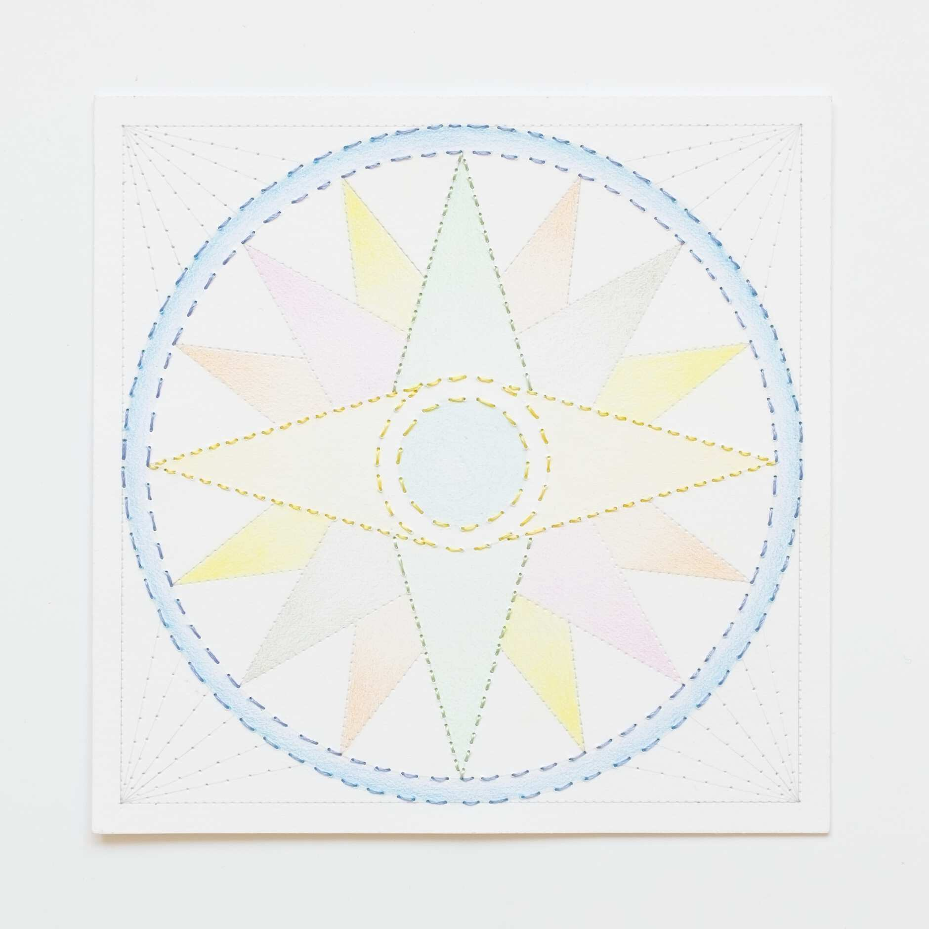 Quilted Composition [white // compass], Hand-embroidered silk thread, pencil, and coloured pencil on paper, 2019