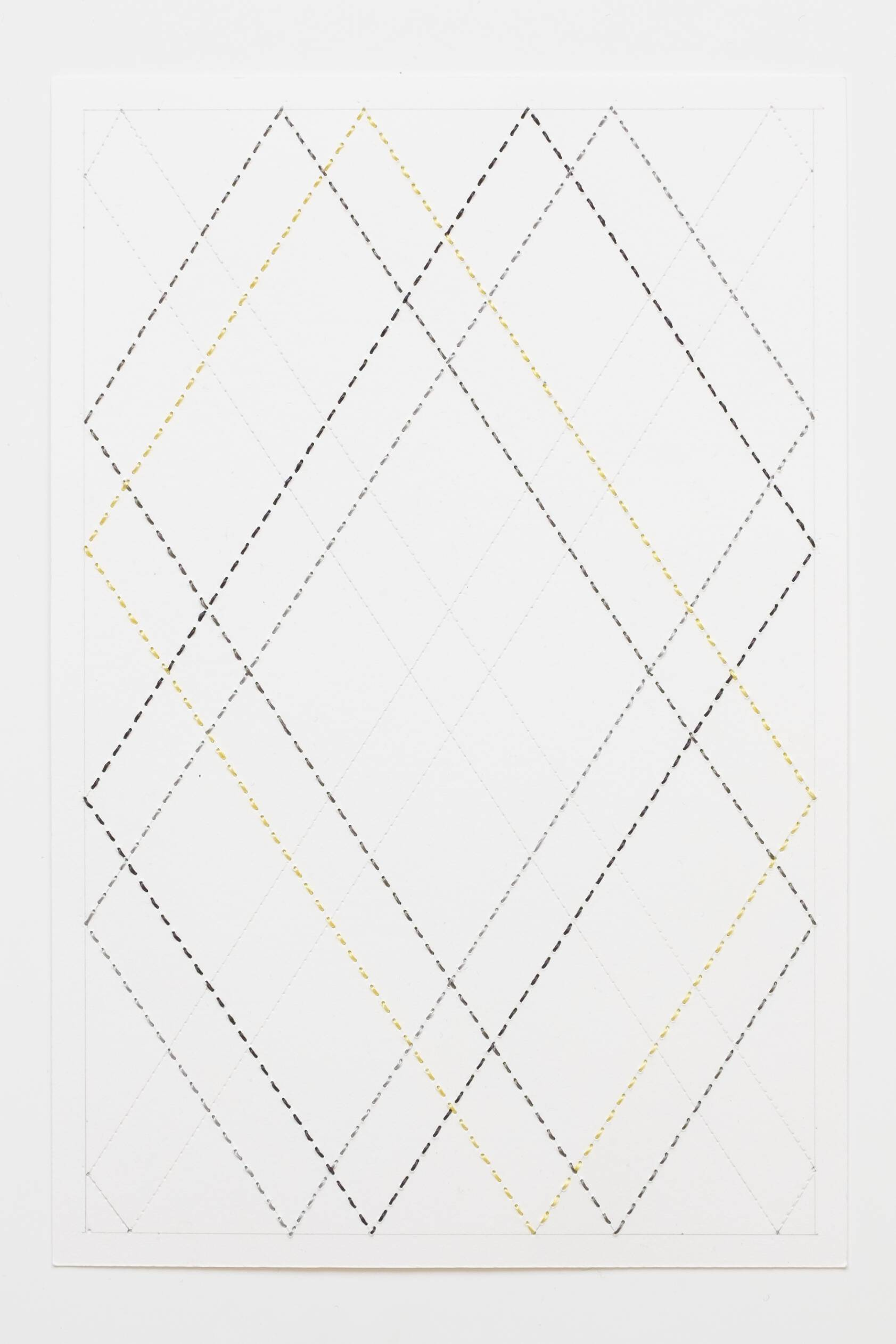 Quilted Composition [white // diamonds 1], Hand-embroidered silk thread, pencil, and coloured pencil on paper, 2019