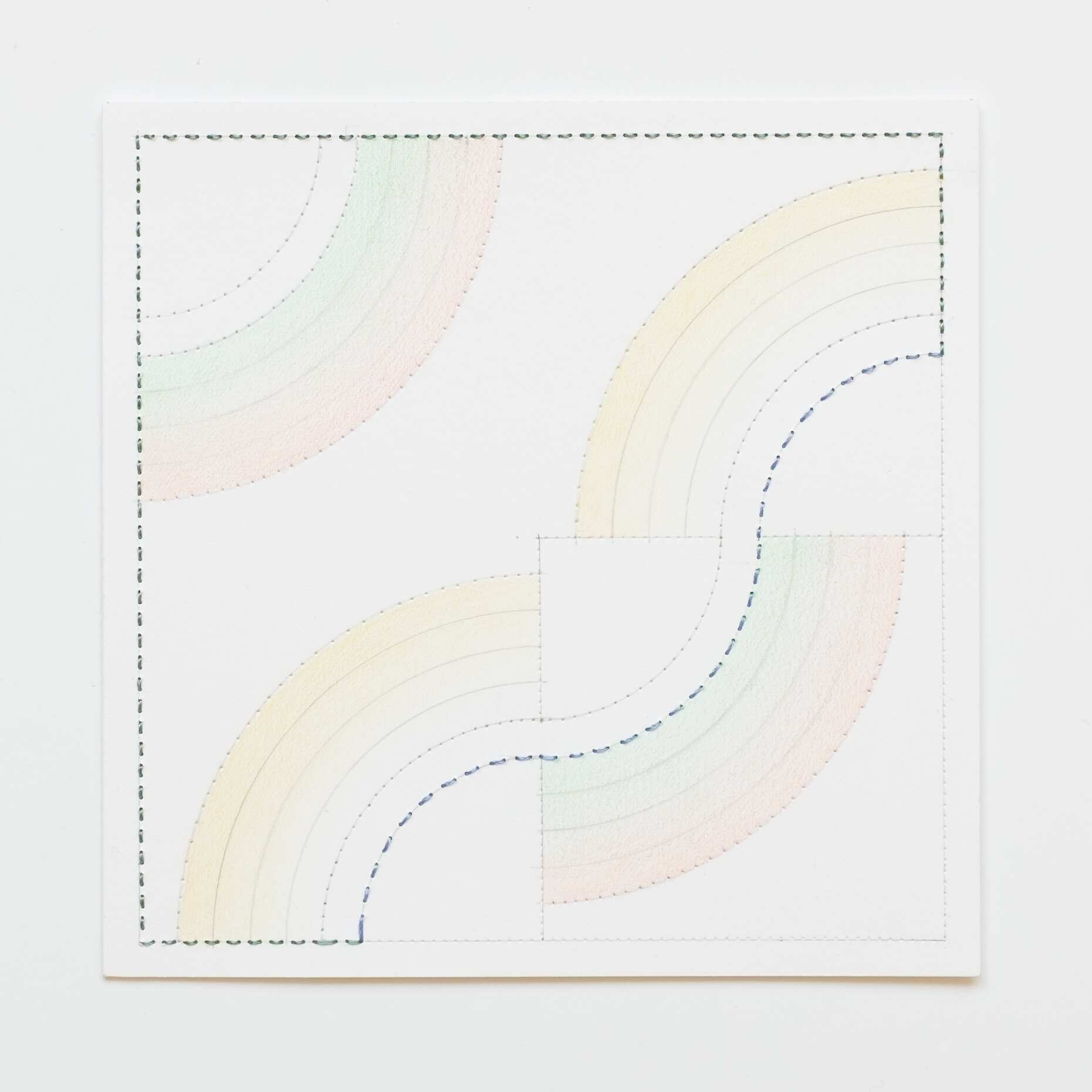 Quilted Composition [white // rainbows YGO], Hand-embroidered silk on paper, pencil, coloured pencil, 2019