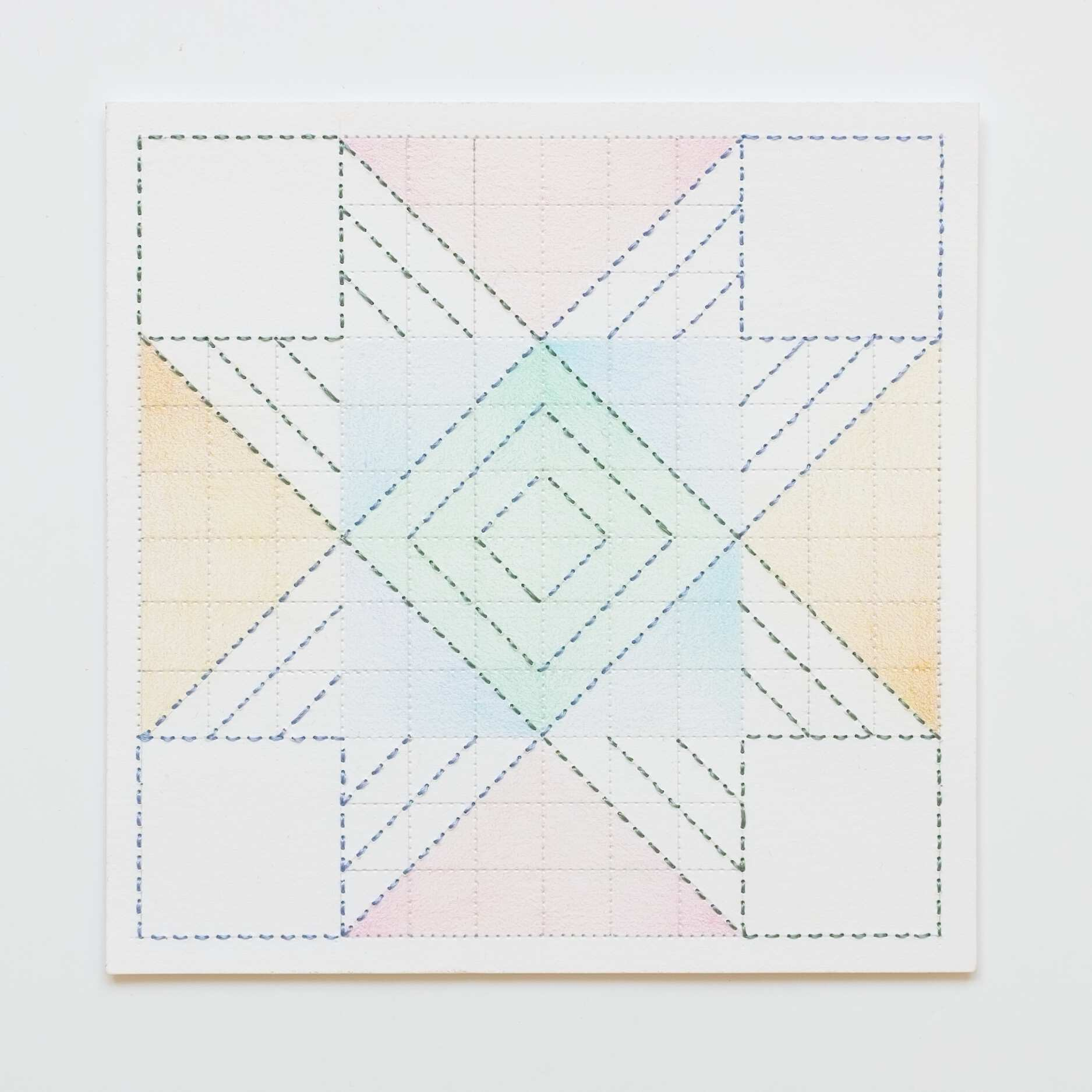 Quilted Composition [white // squares PGBYO], Hand-embroidered silk on paper, pencil, coloured pencil, 2019