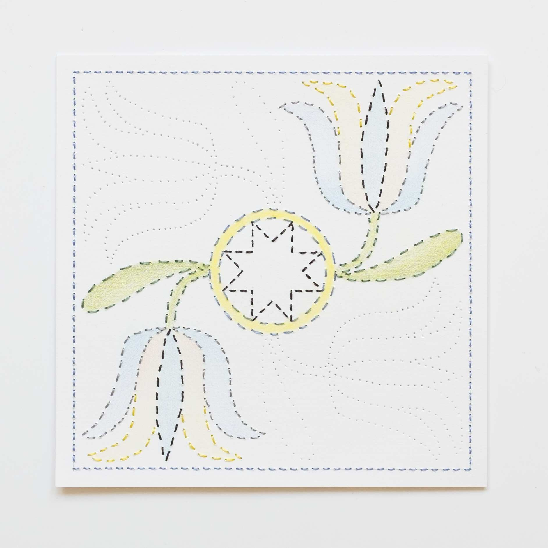 Quilted Composition [white // tulips], Hand-embroidered silk on paper, pencil, coloured pencil, 2019