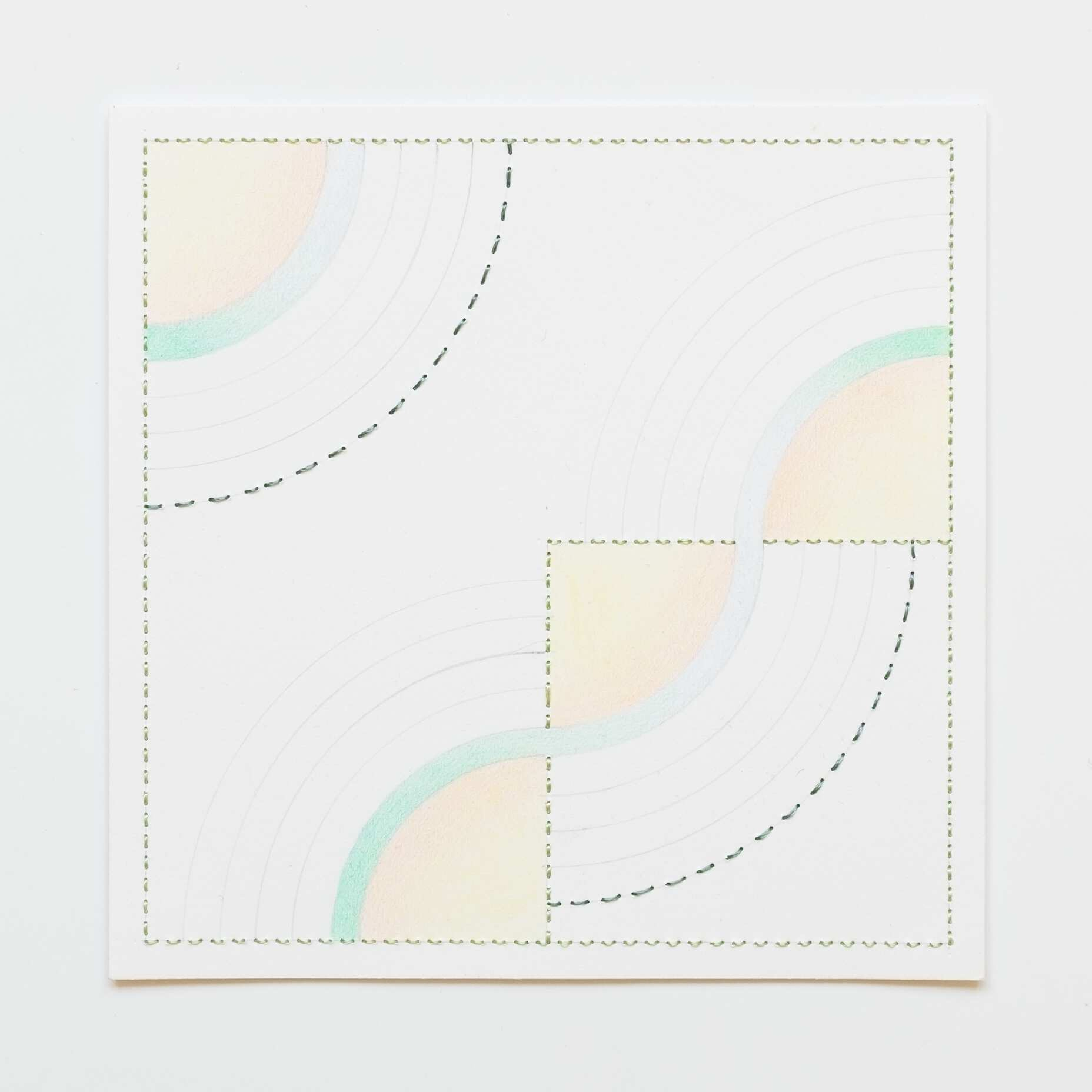 Quilted Composition [white // rainbows YGOB], Hand-embroidered silk on paper, pencil, coloured pencil, 2019