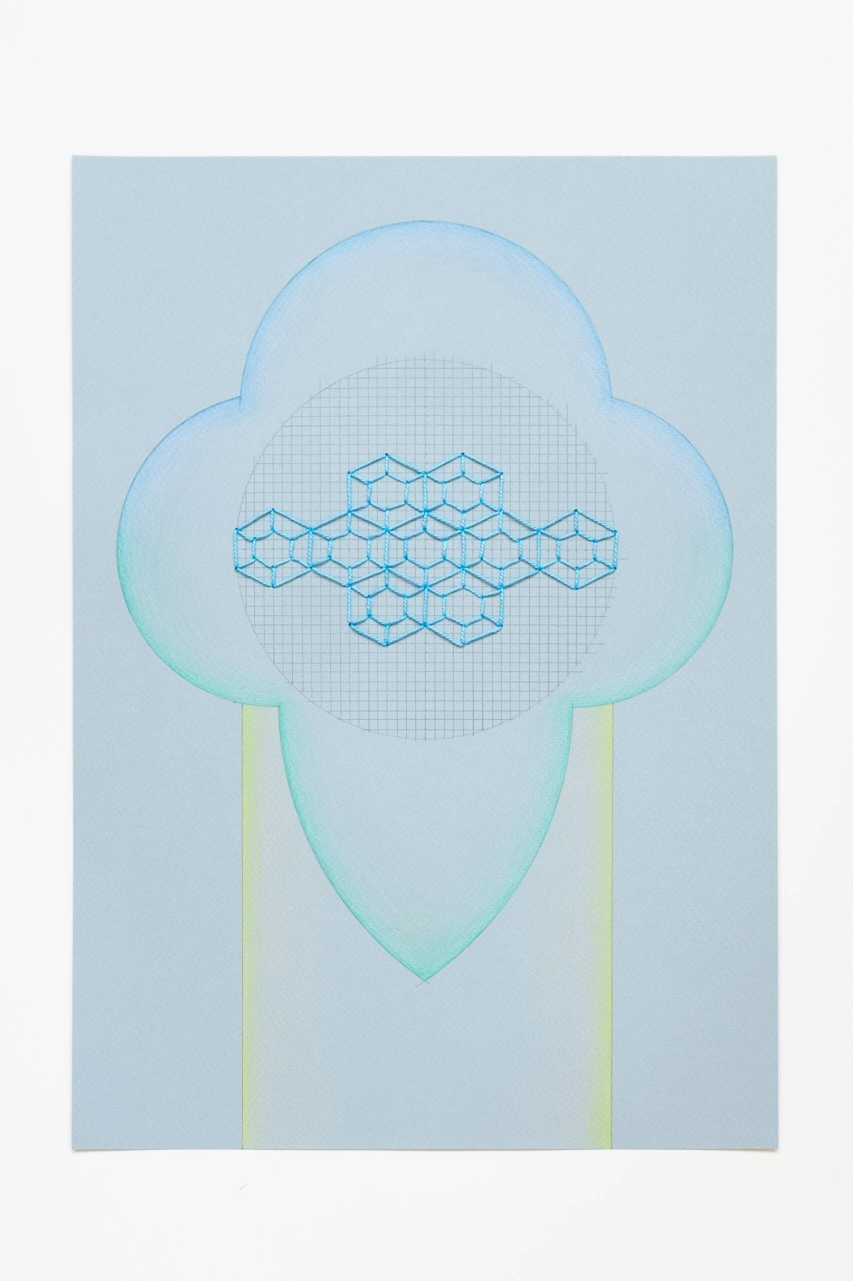 Sashiko circle [blue on blue], Hand-embroidered cotton thread, pencil and colored pencil on paper, 2020