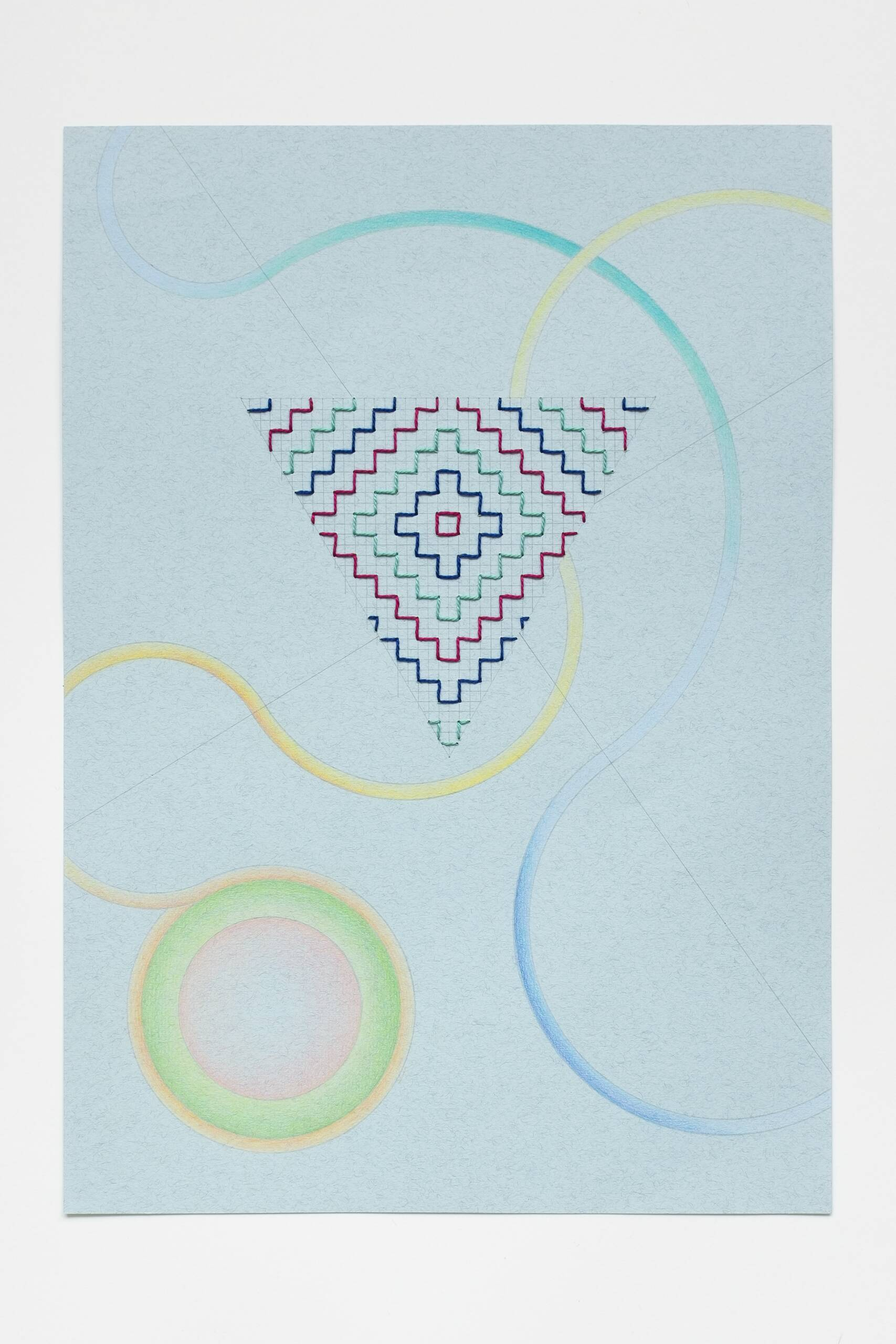 Sashiko triangle [navy-mauve-teal on blue], Hand-embroidered cotton thread, pencil and colored pencil on paper, 2020