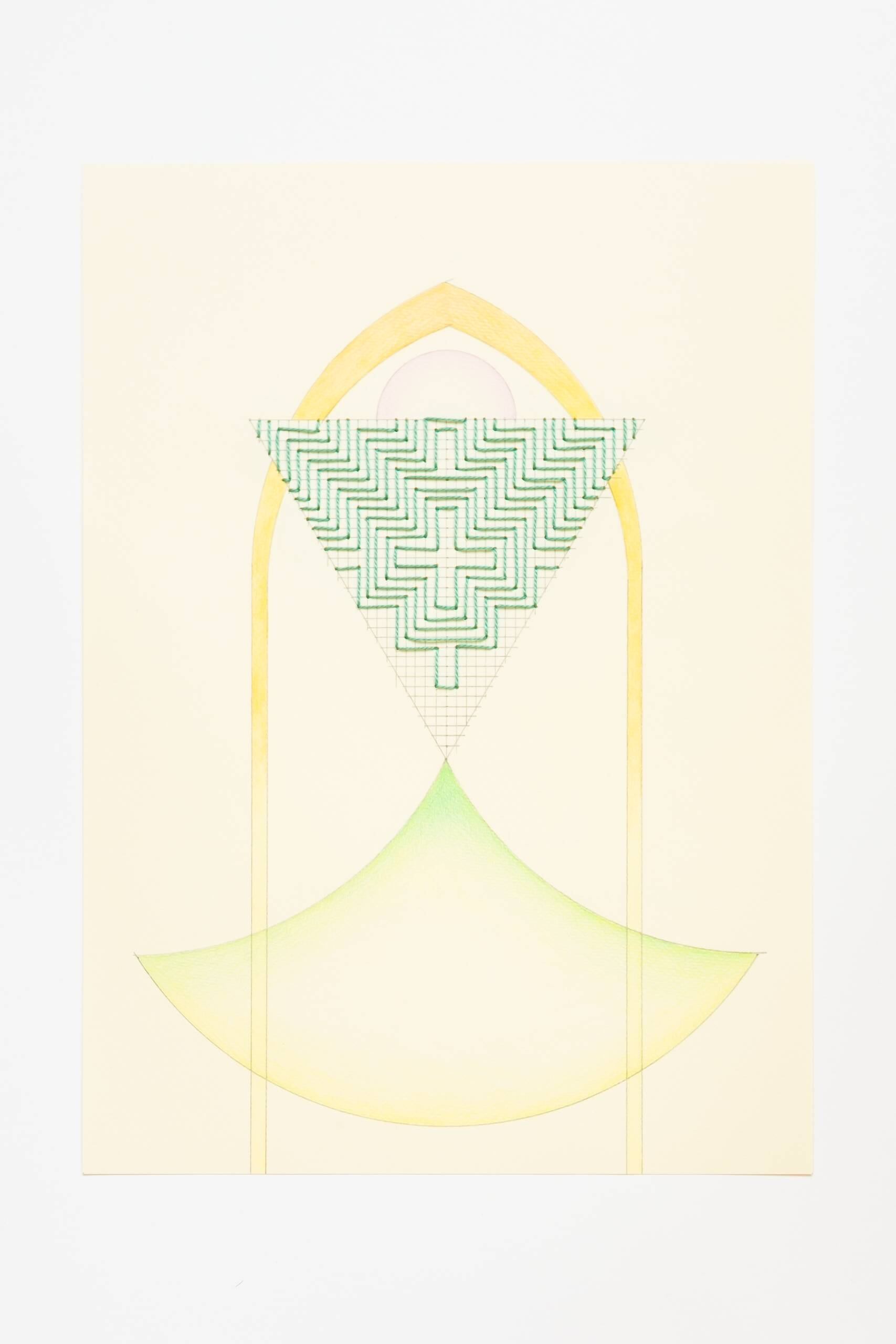 Sashiko triangle [green on yellow], Hand-embroidered cotton thread, pencil and colored pencil on paper, 2020