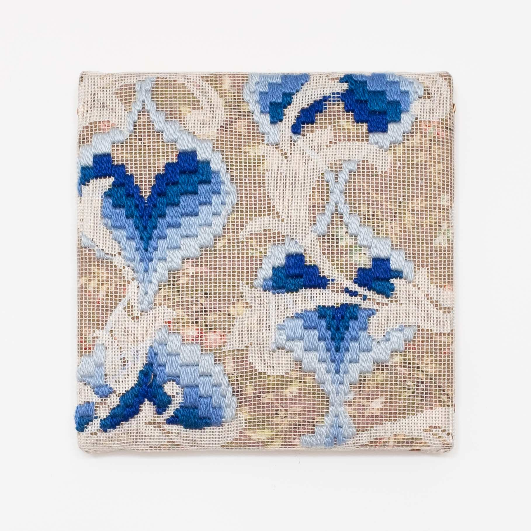 Triple-layer gather-gusset [blue hearts], Hand-embroidered silk on lace over fabric, 2019