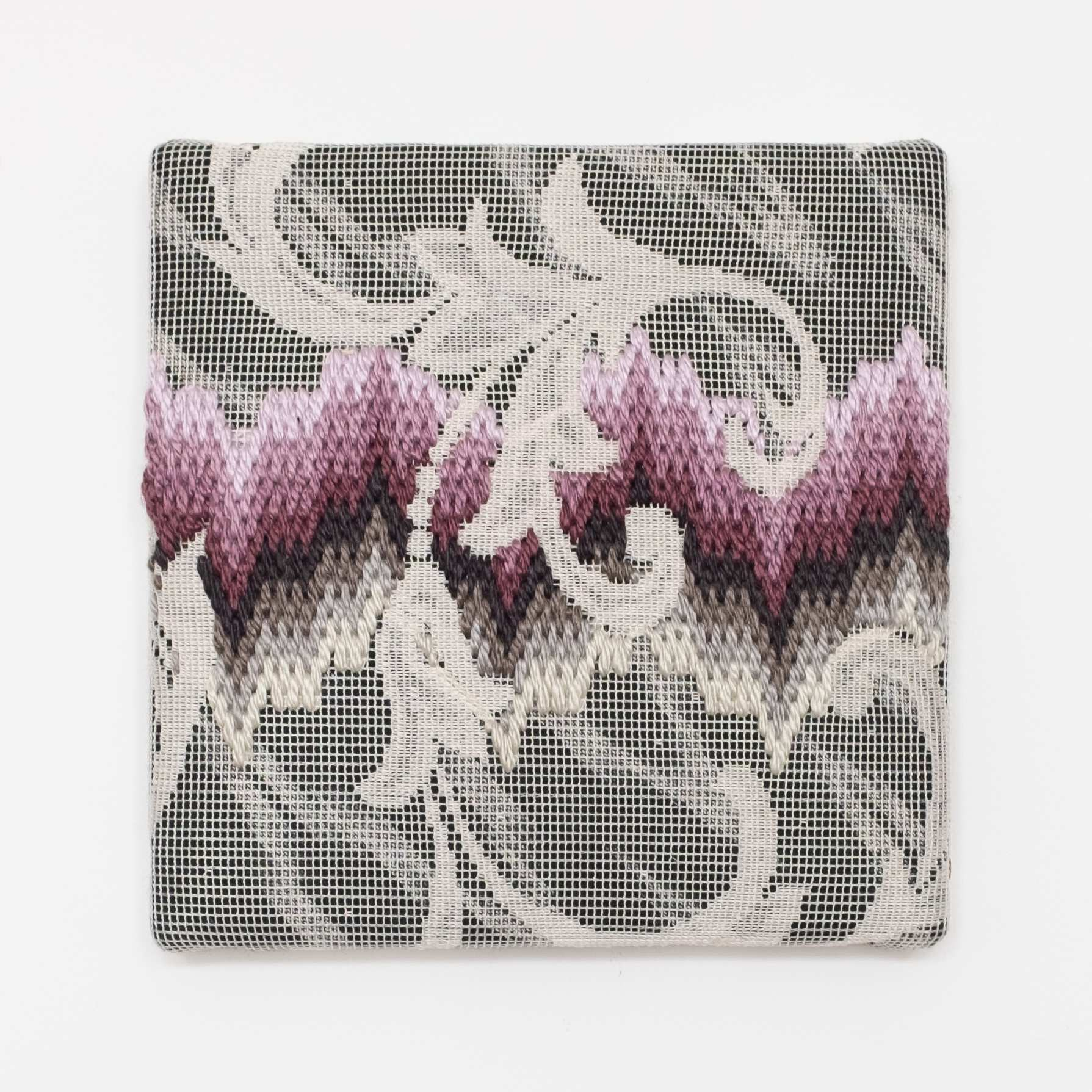 Triple-layer gather-gusset [purple-grey northern lights], Hand-embroidered silk on lace over fabric, 2019