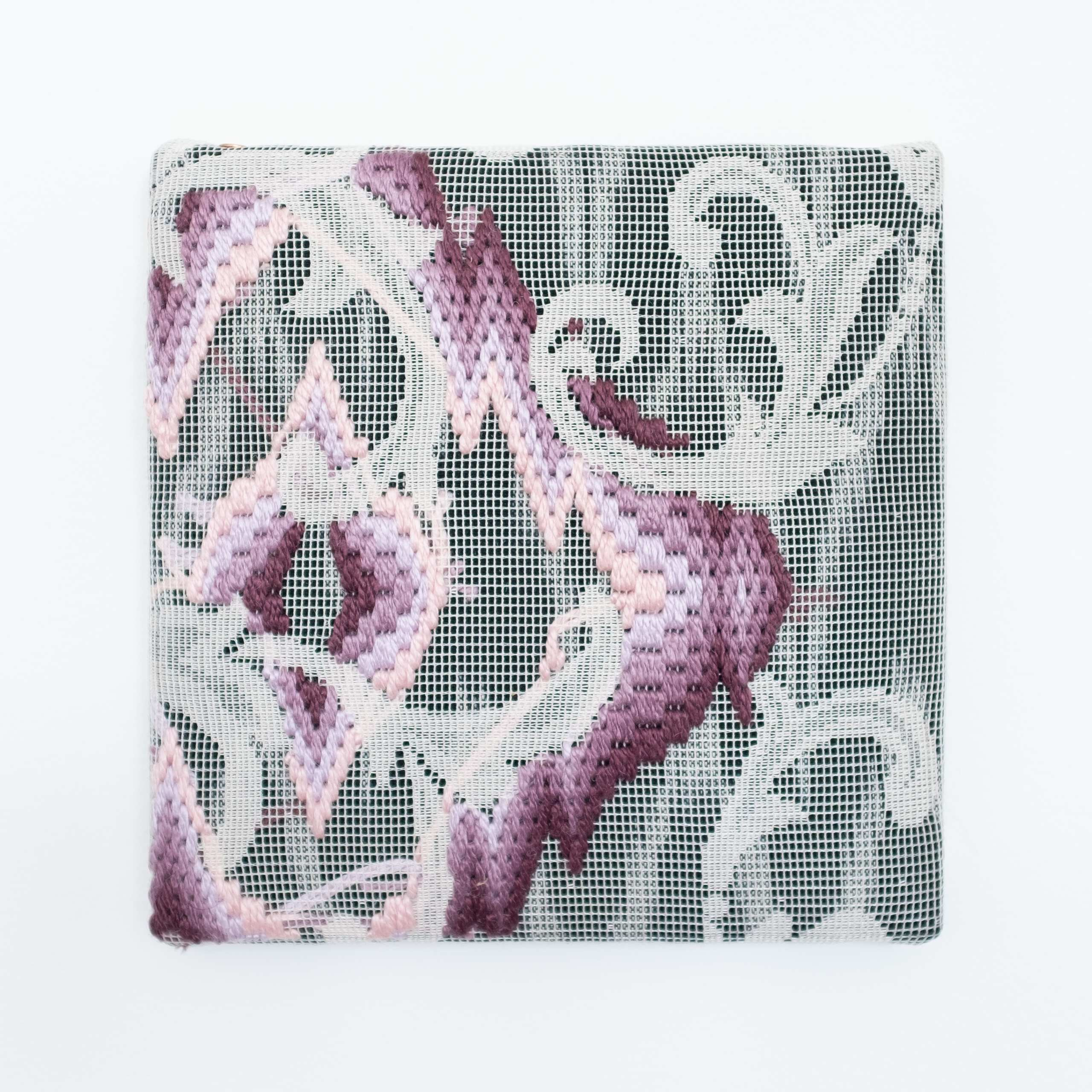Triple-layer gather-gusset [purple-pink harmony], Hand-embroidered silk on lace over fabric, 2020