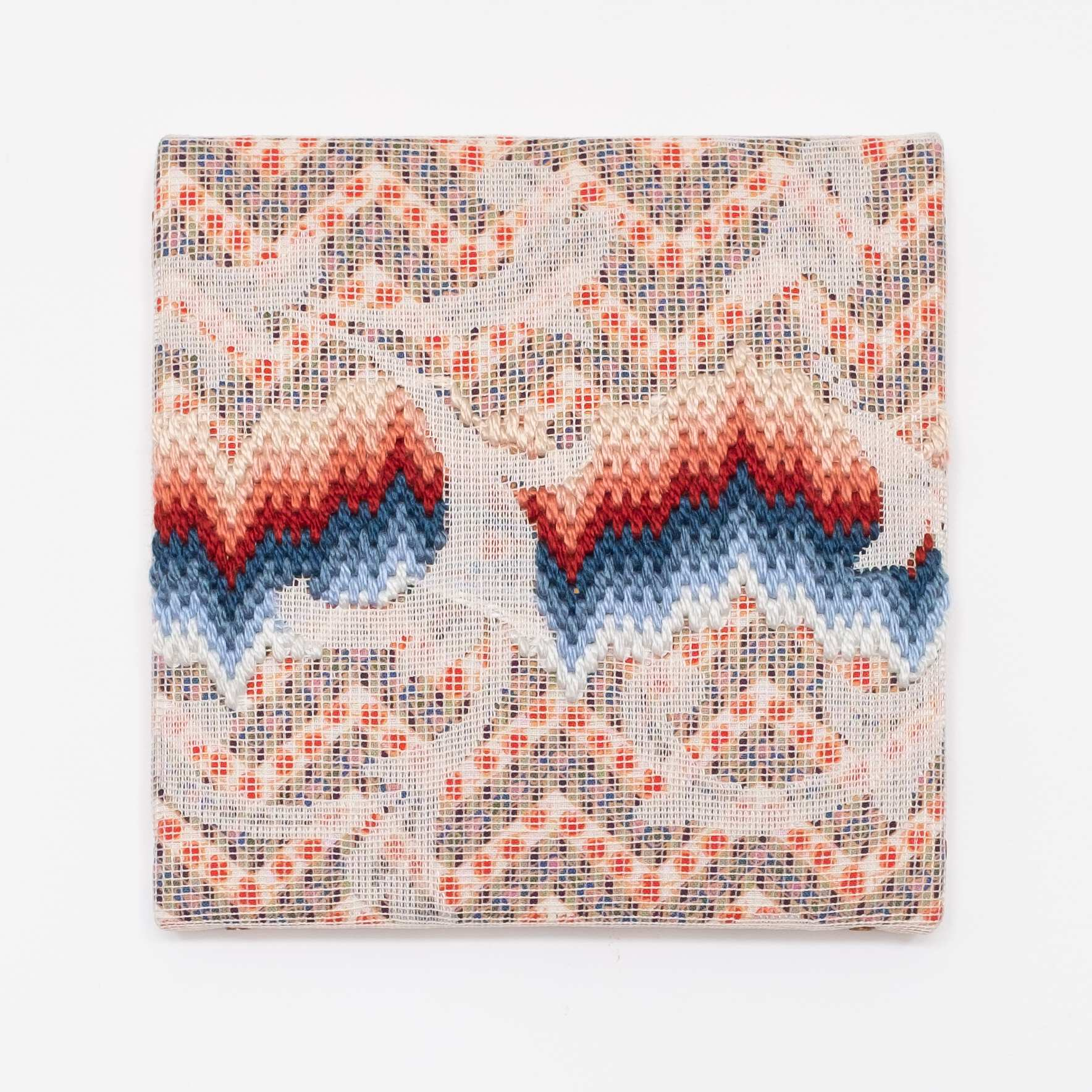 Triple-layer gather-gusset [red-blue northern lights], Hand-embroidered silk on lace over fabric, 2019